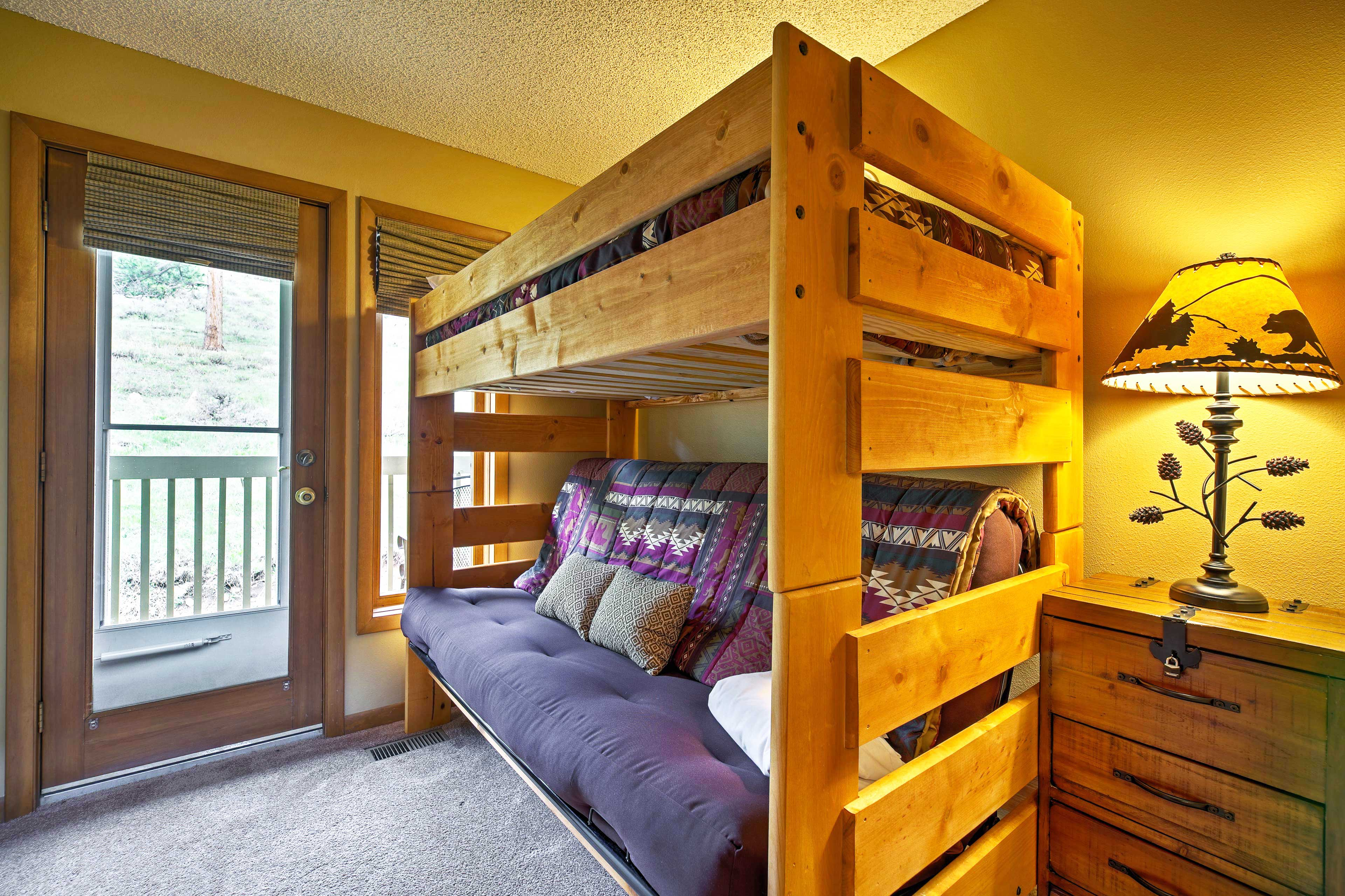The third bedroom has a twin-over-full futon bunk bed.