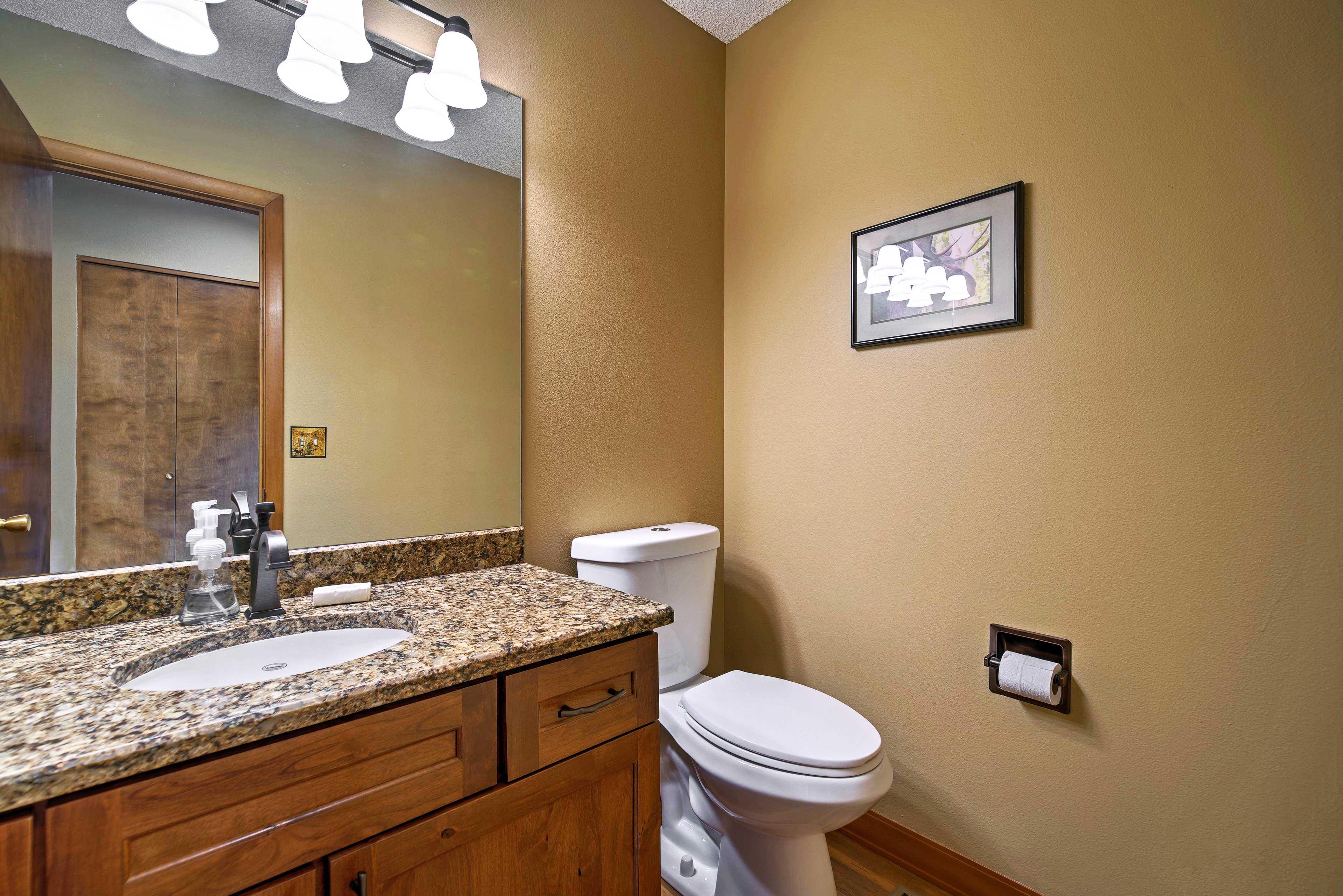A half bathroom is available on the main floor.
