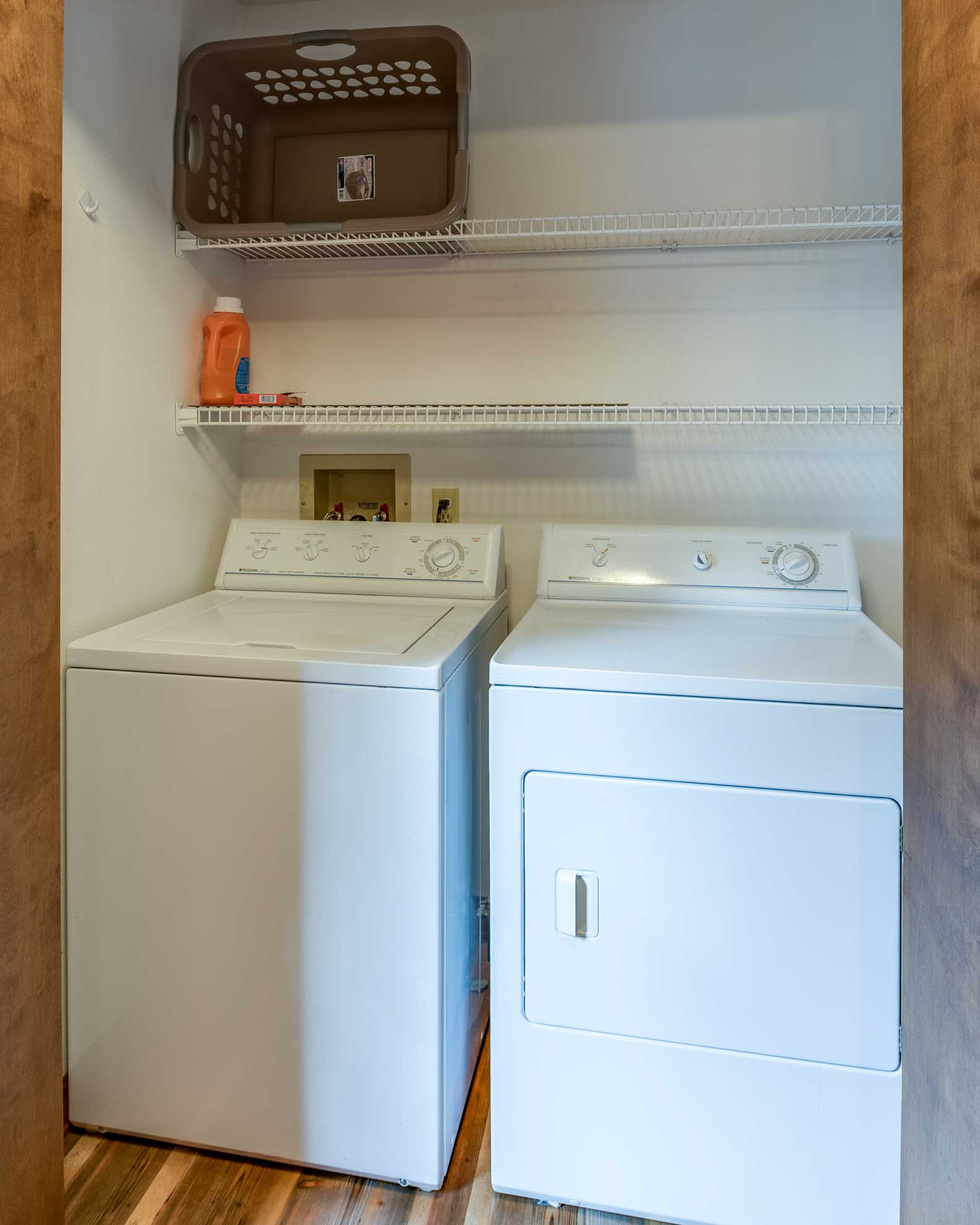 Wash your dirty duds with in-unit laundry machines.