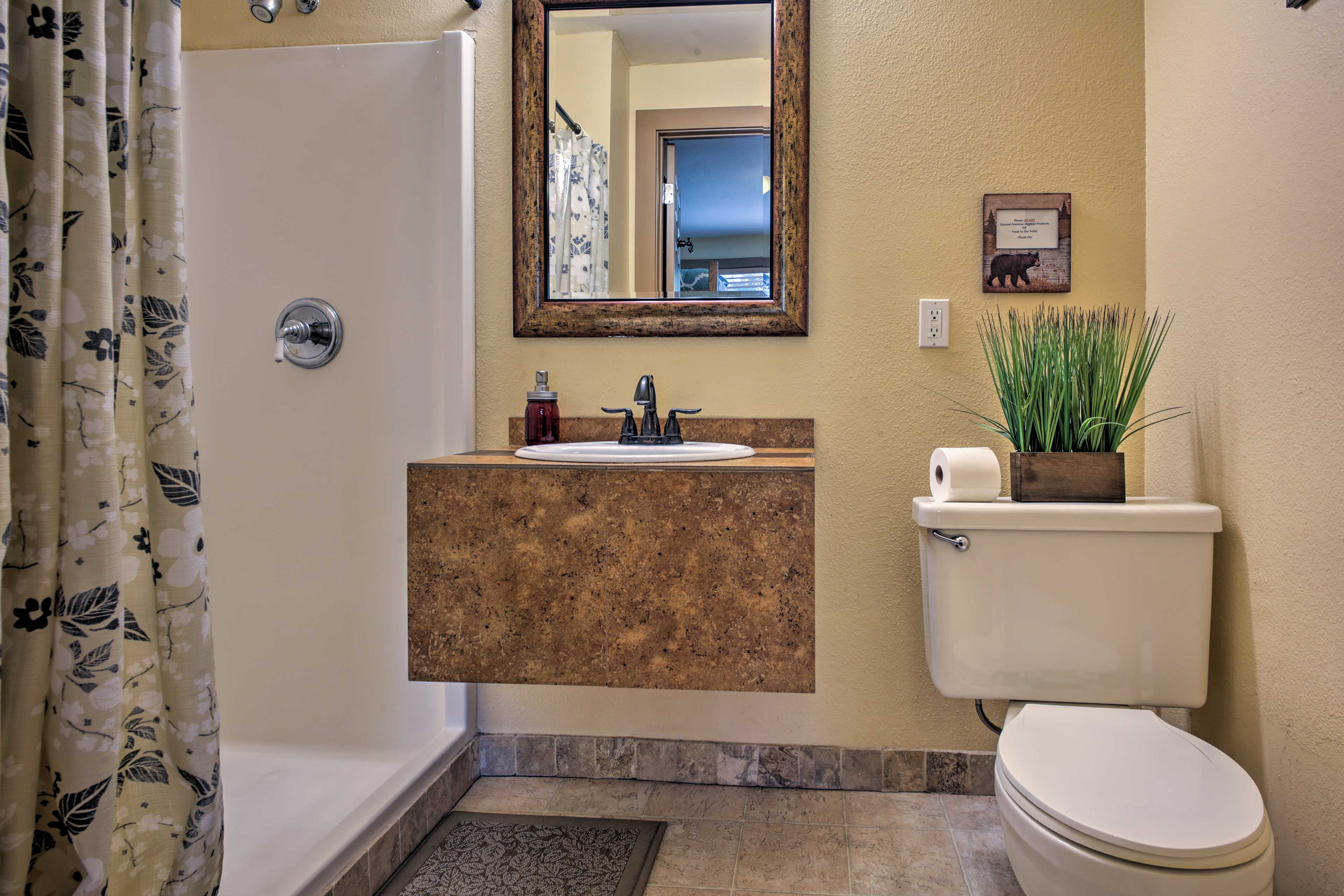 An en-suite bathroom makes it easy to rinse off before bed.