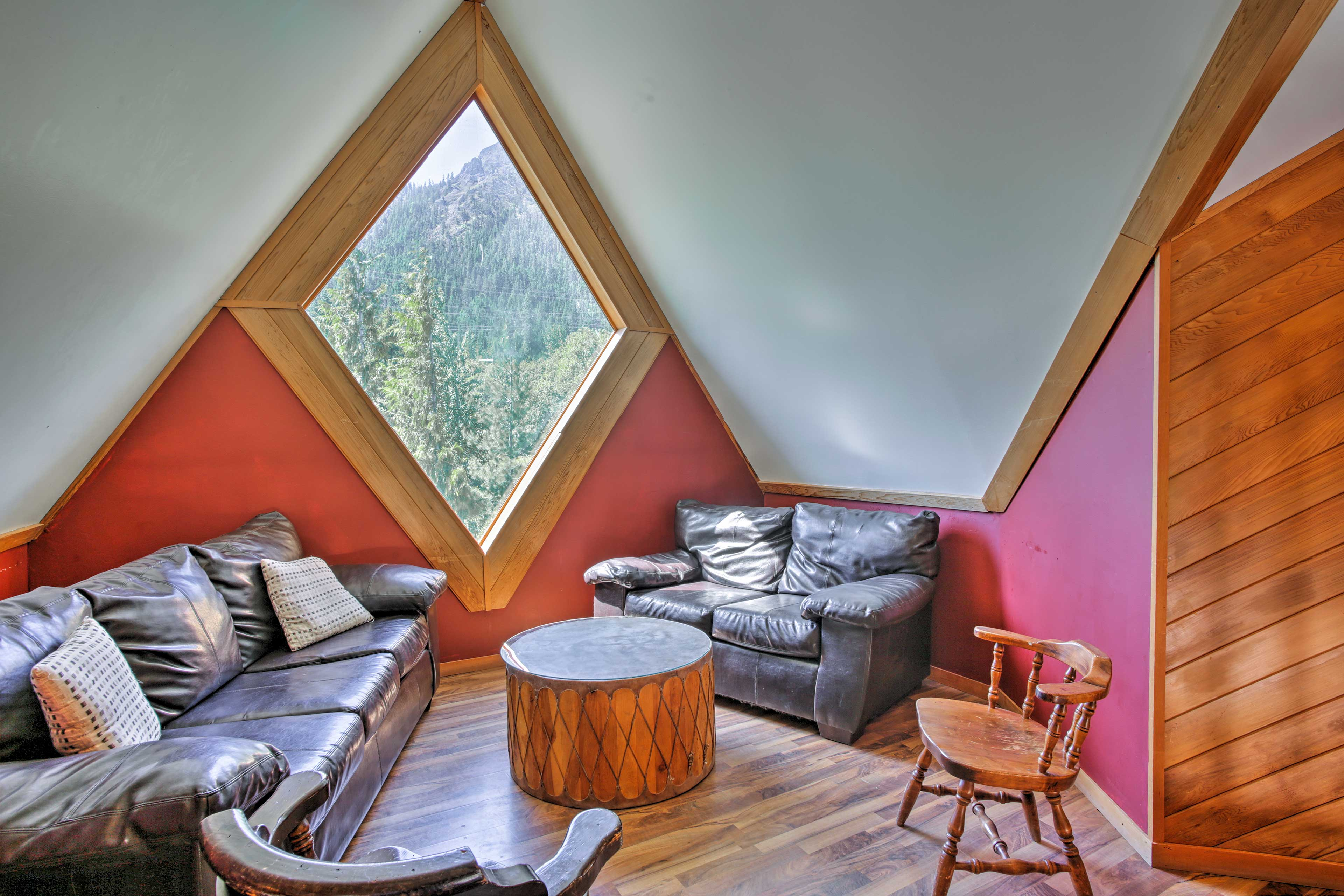 Curl up with a good read in the cozy nook in the loft.