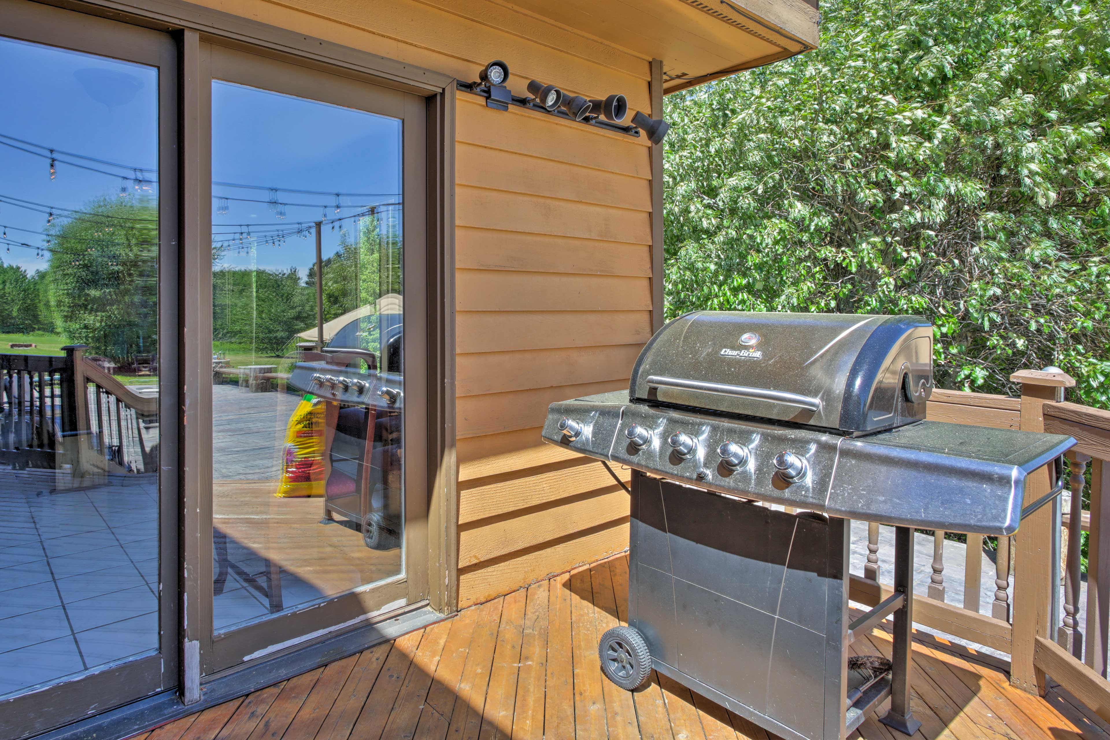 The property also has a gas grill out on the spacious back deck.
