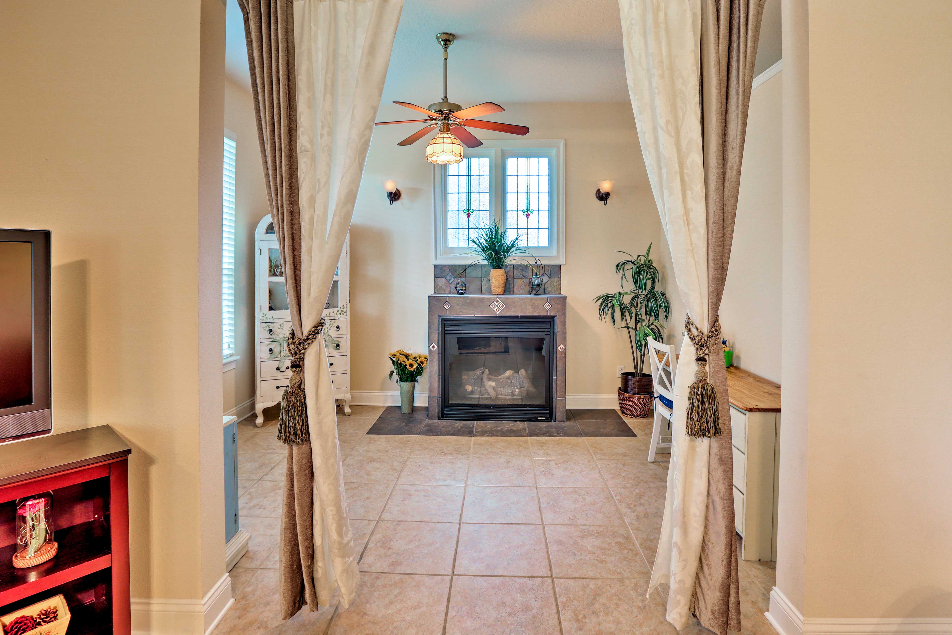 Warm up on cooler nights with the gas fireplace.
