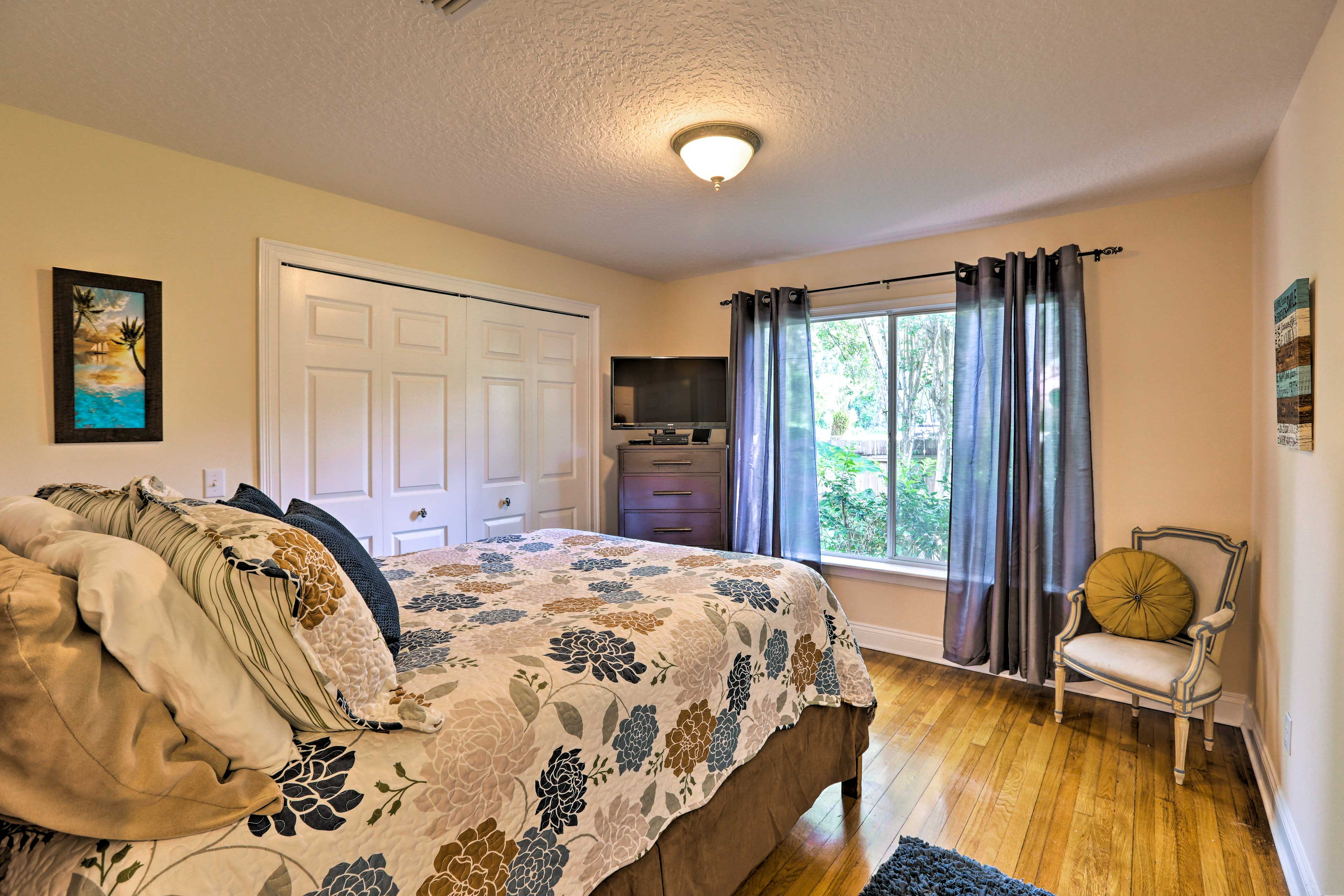The master bedroom is a welcome oasis.