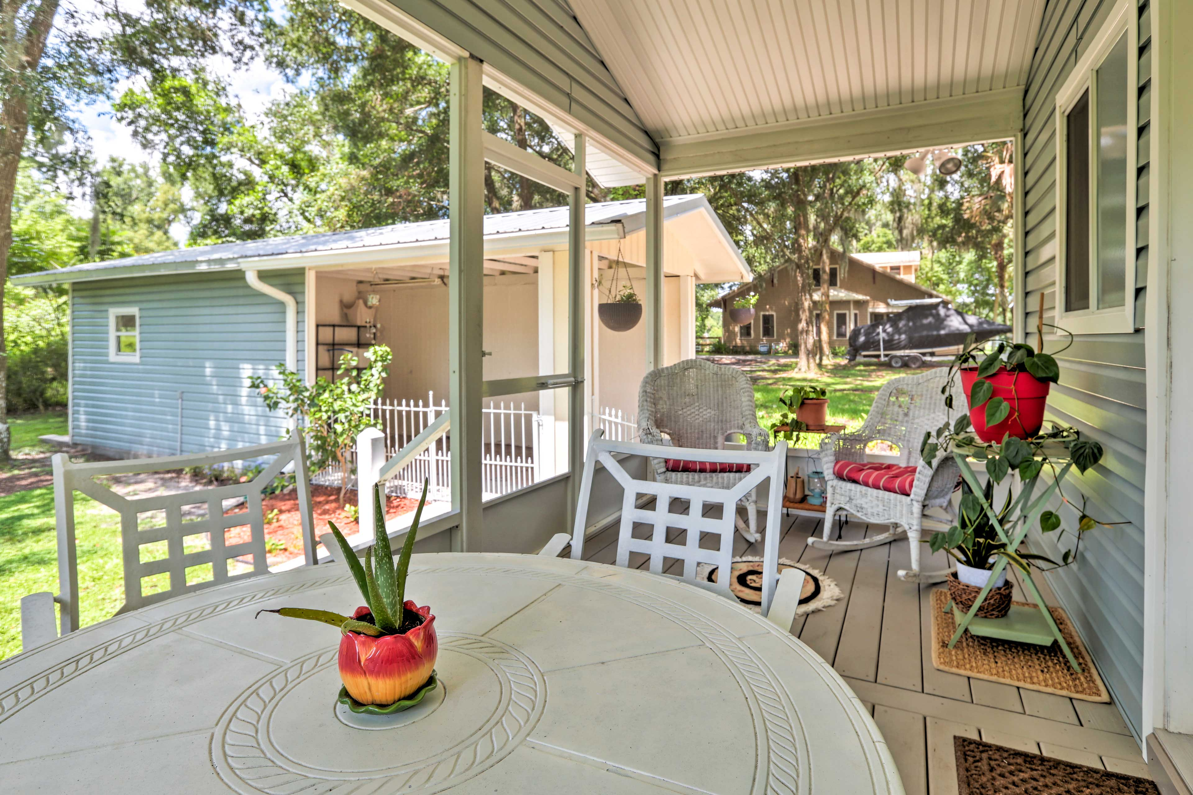 Spend the afternoon on the screened porch.