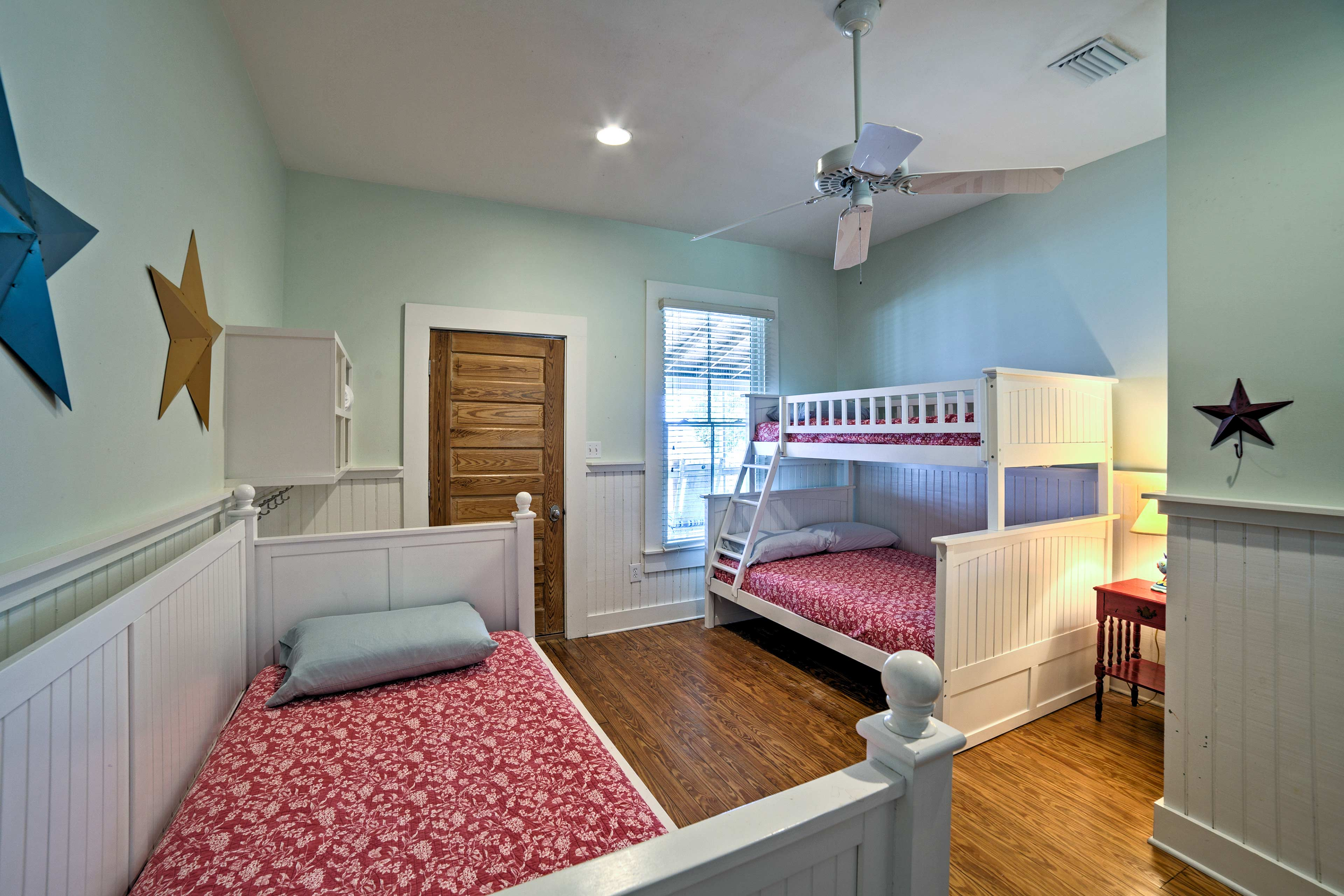 Kids will love claiming this bunk room at night.