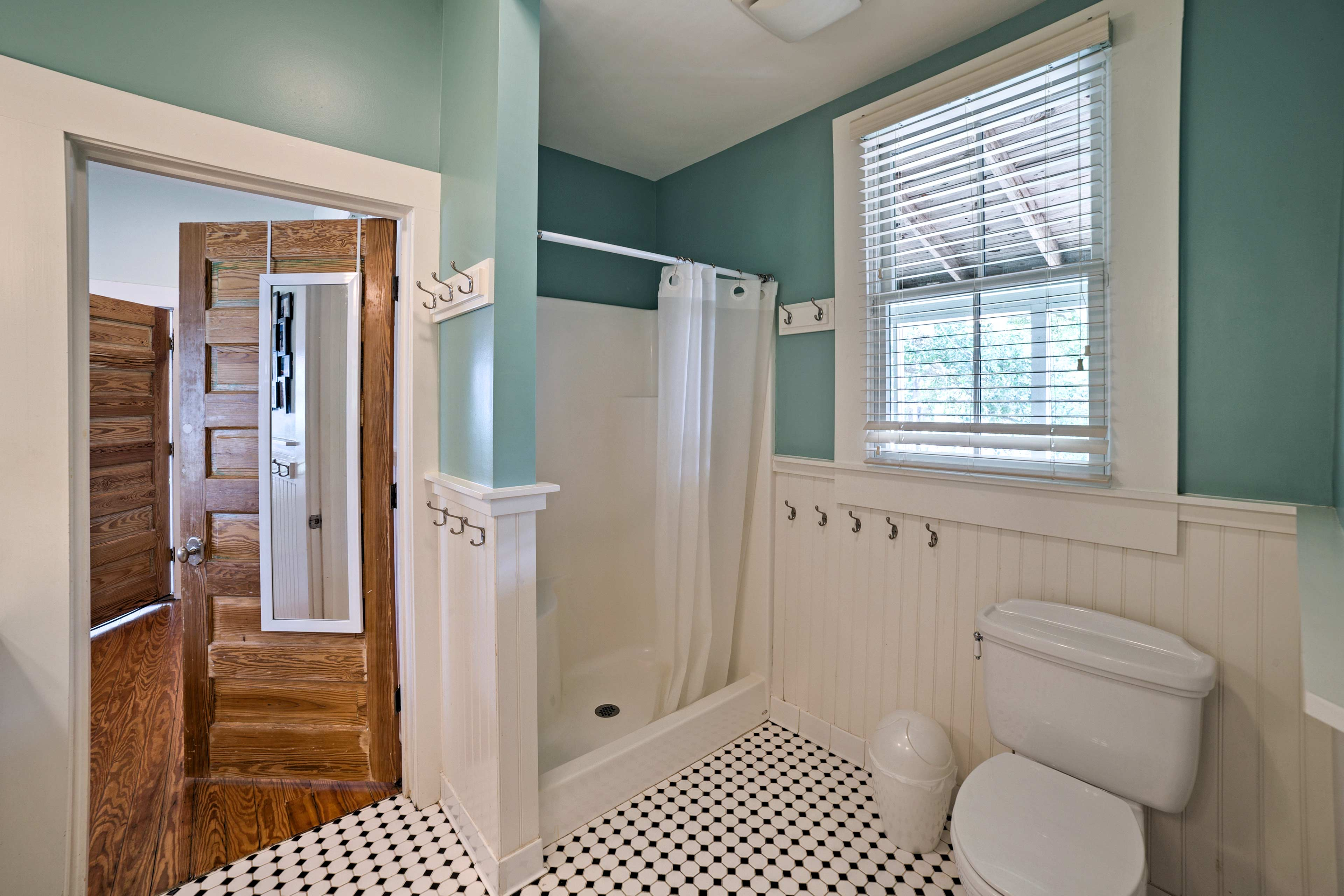 A Jack-and-Jill bathroom adds convenience to morning preparations.