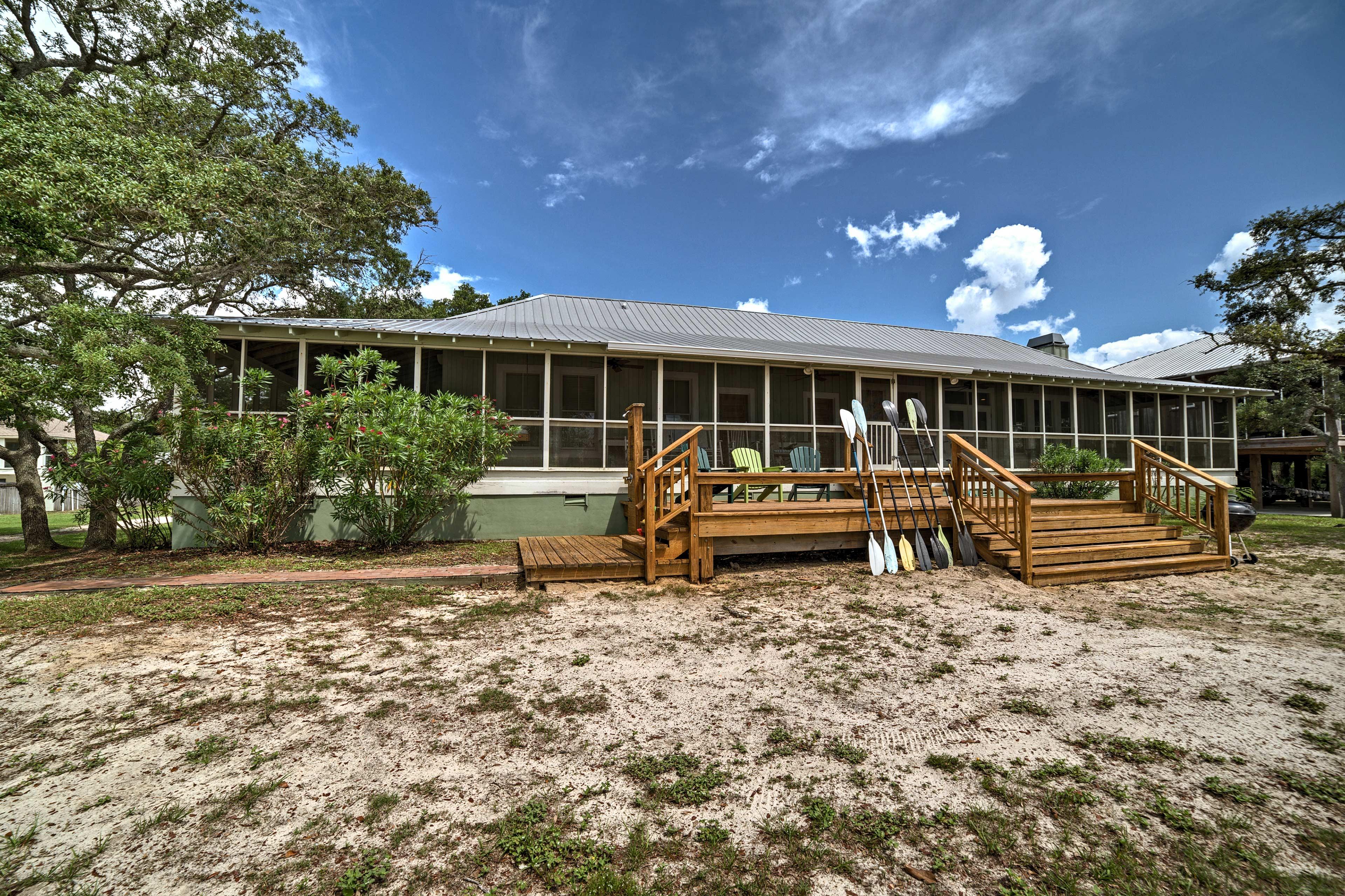 A tranquil beach house getaway awaits.