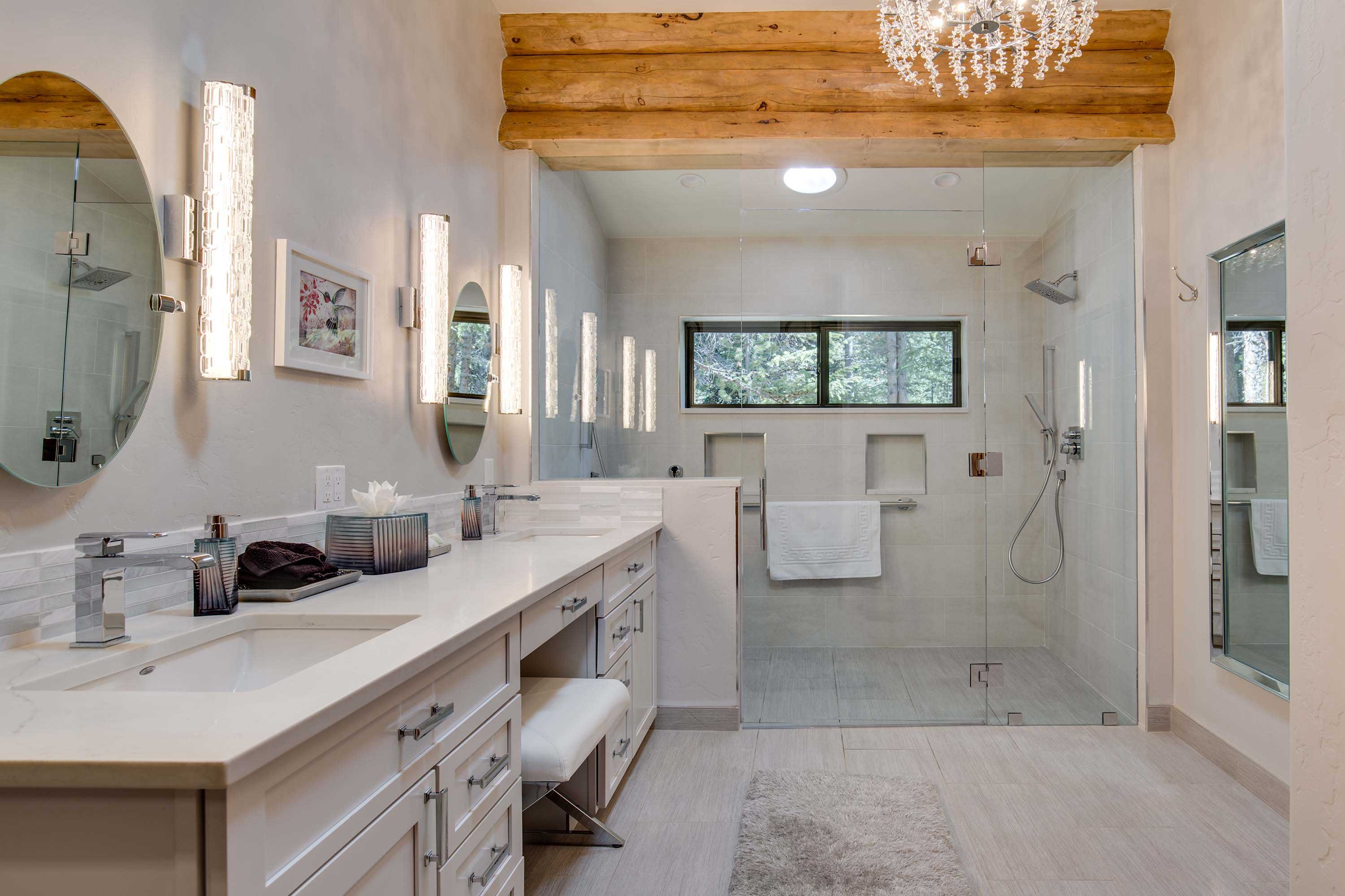 The home's bathrooms are sure to impress.