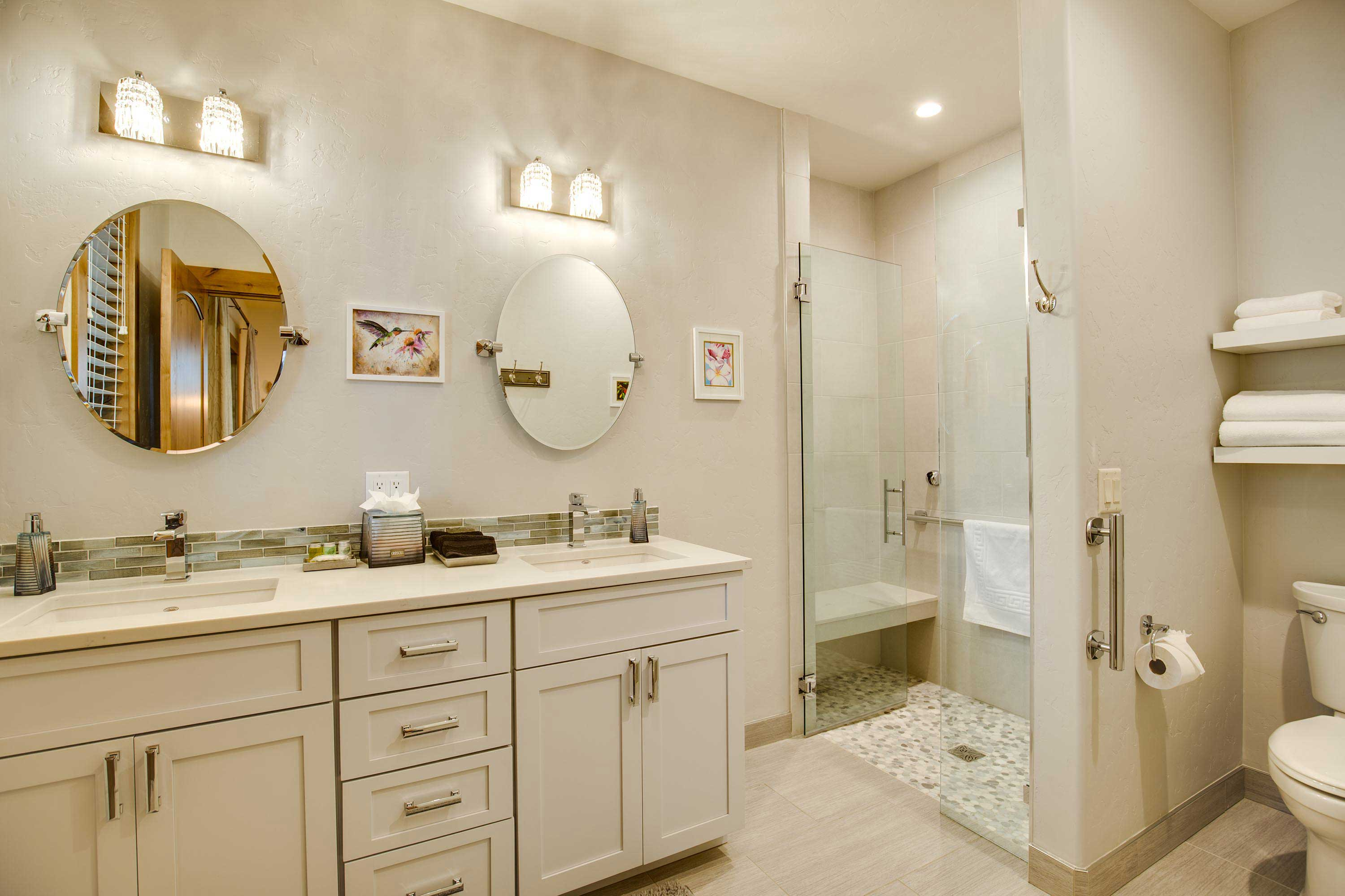 Rinse off the day in this lavish bathroom.