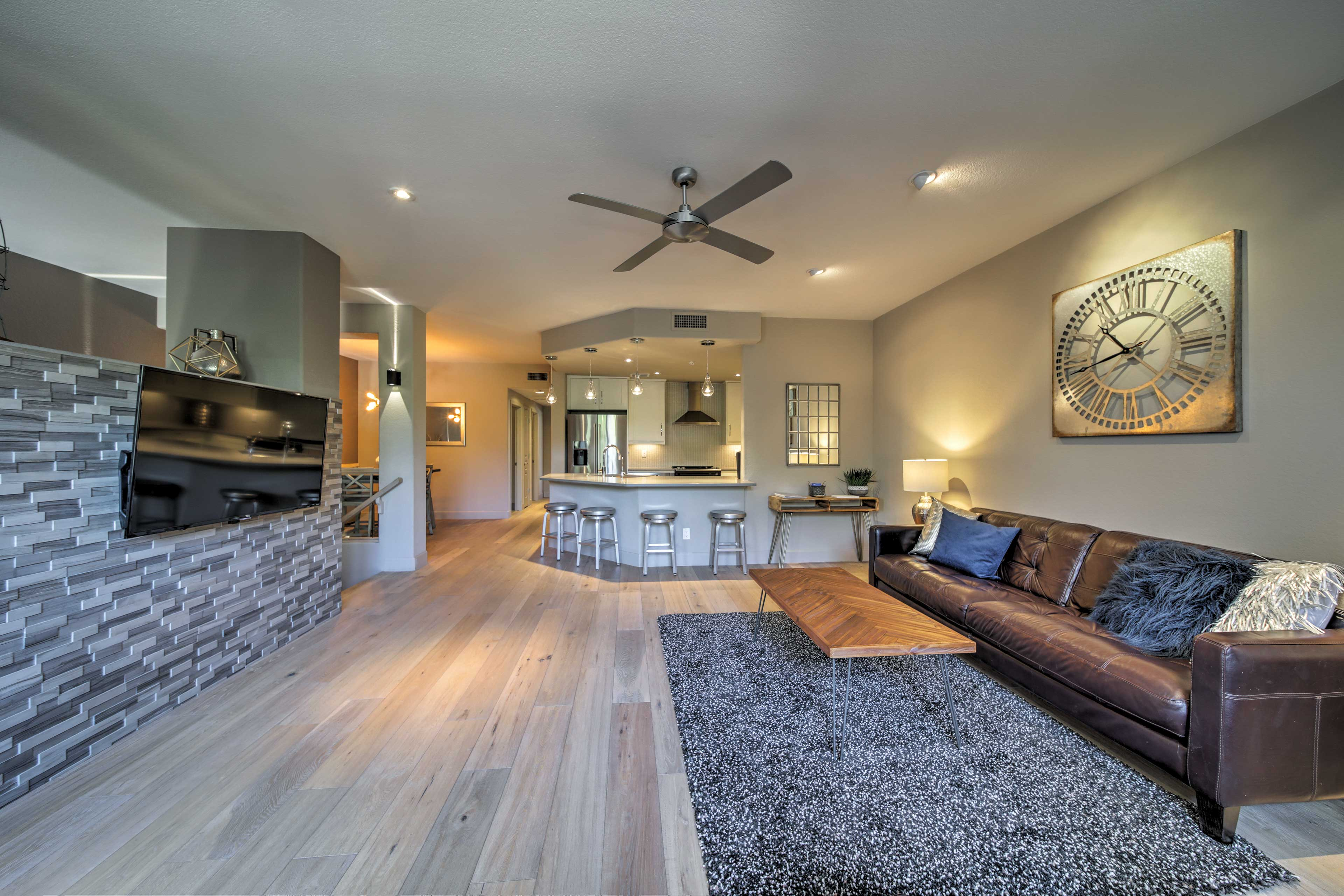 The modern decor gives the townhome a unique ambiance.