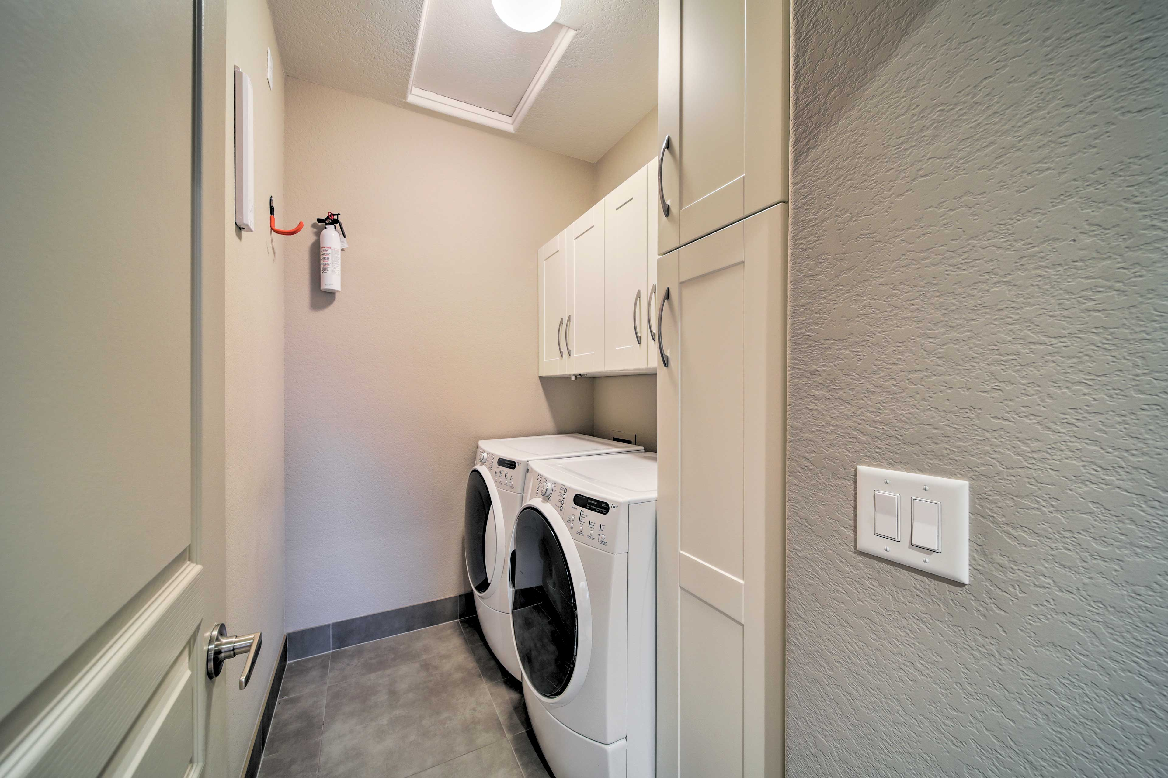 Wash your dirty clothes in the in-unit laundry machines.