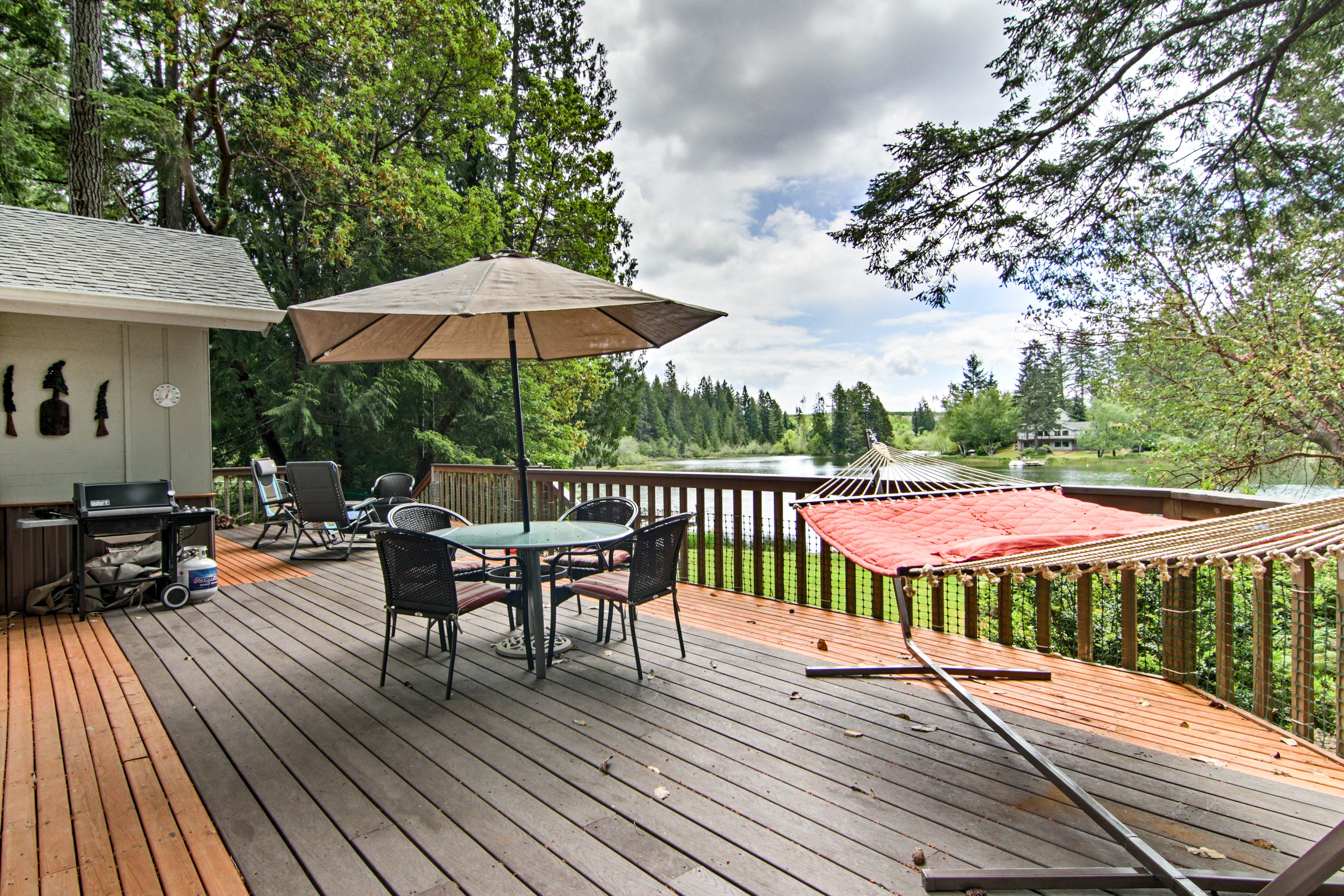 Hang and hammock all day on the spacious deck overlooking the lake.