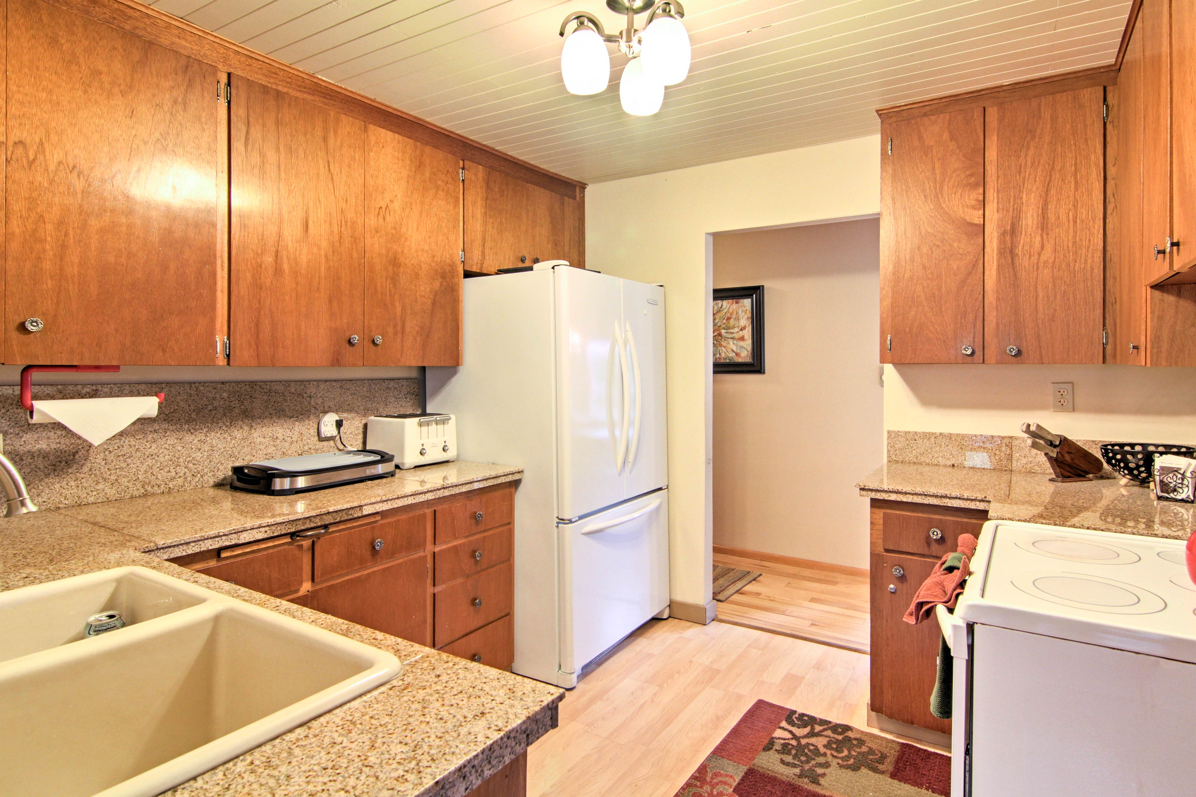 The fully equipped kitchen has everything you need to prepare meals.