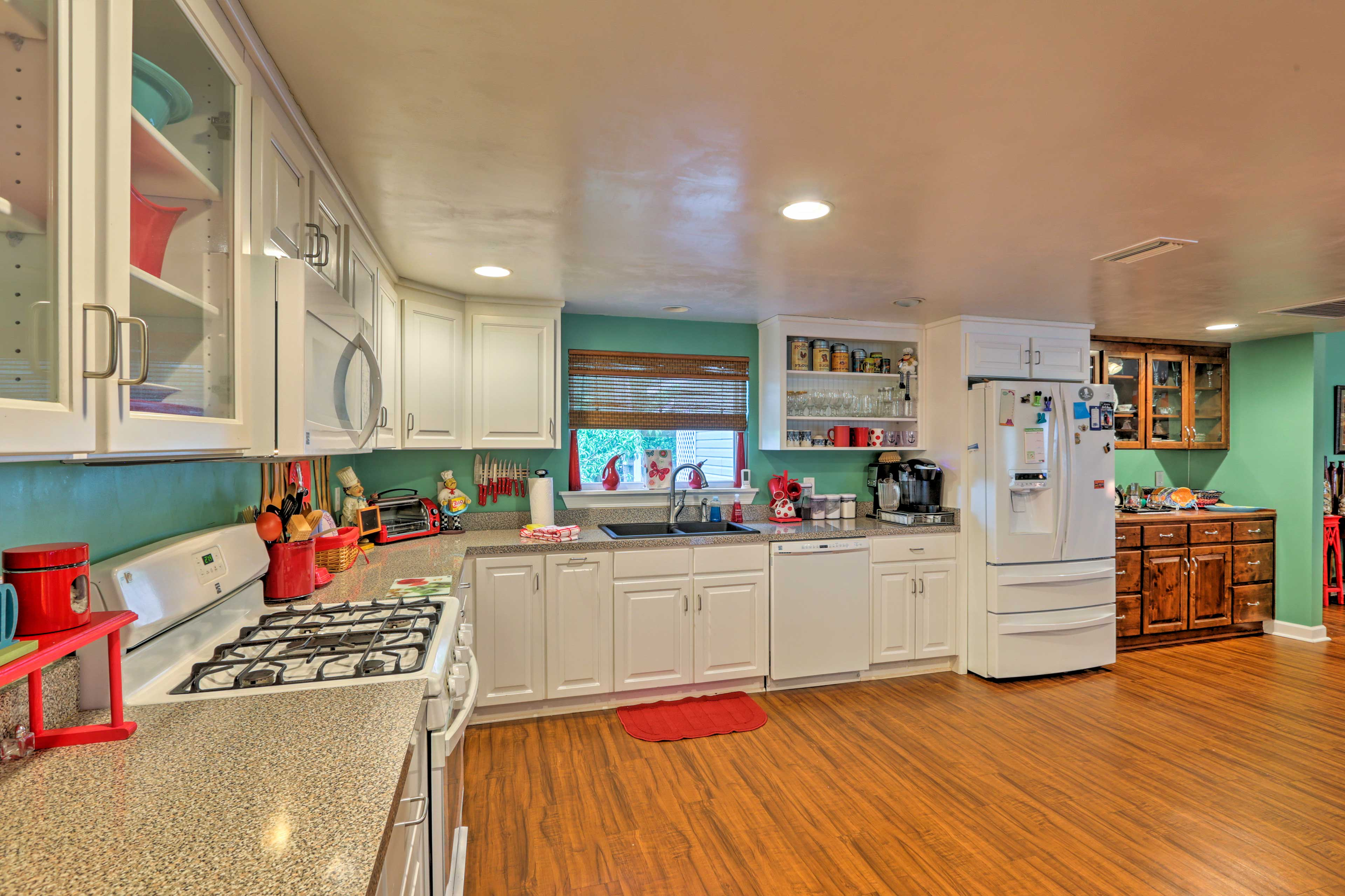 The kitchen is fully equipped to make cooking a breeze.