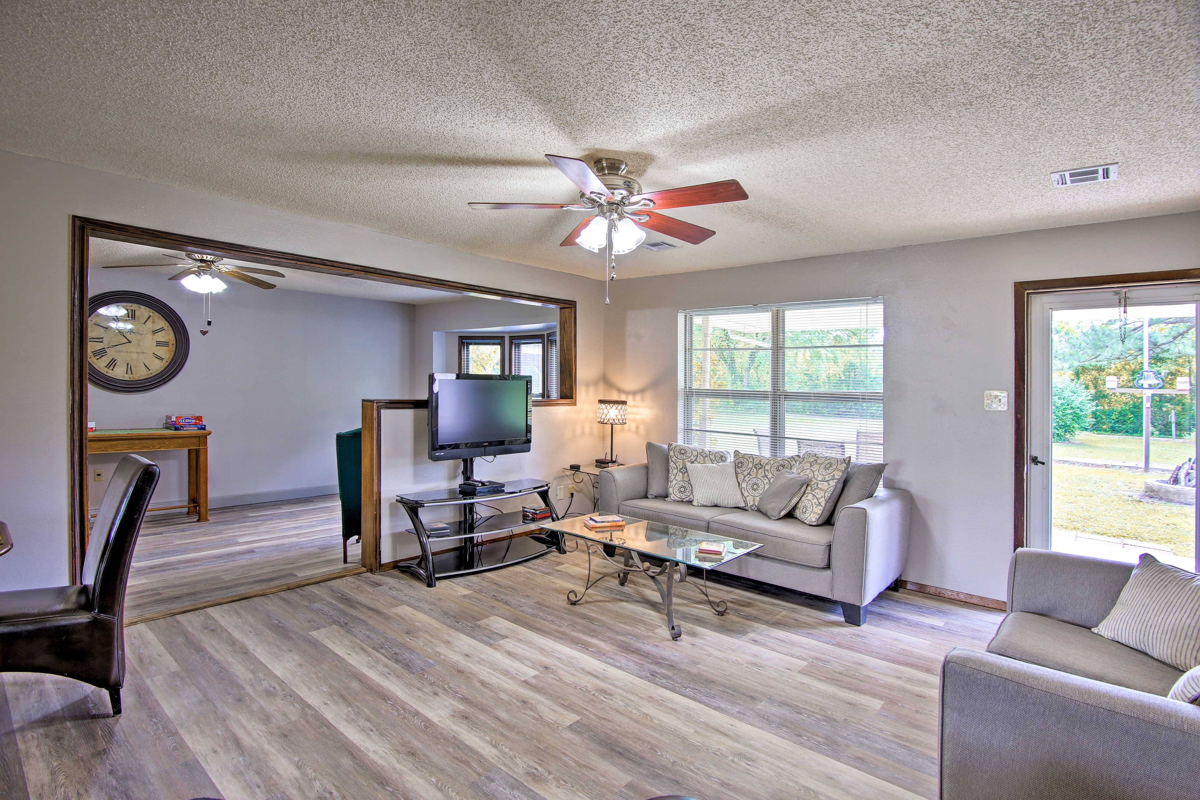 The bright modern interior has comfortable furnishings and sleeps 8 guests.