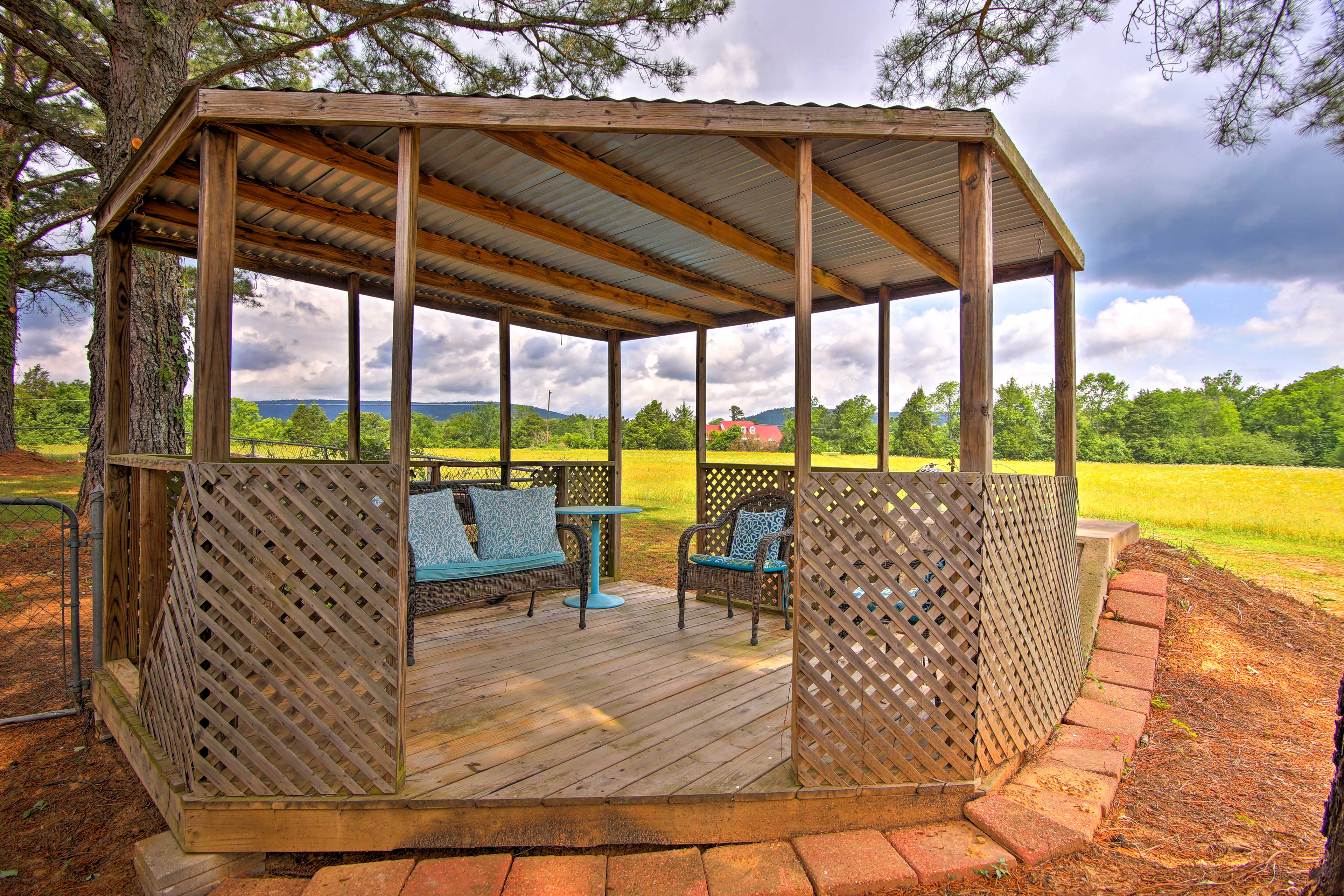 Soak in mountain views from the shaded comfort of the furnished gazebo.