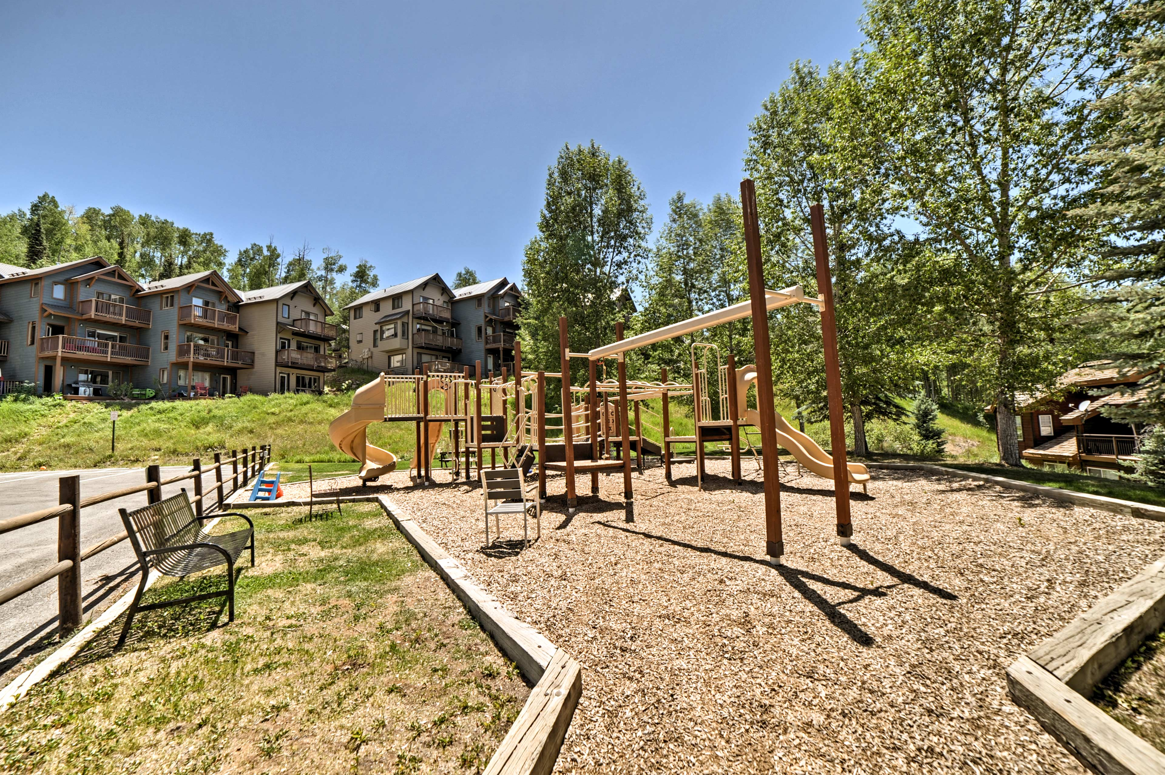Take the kids to the playground down the hill.