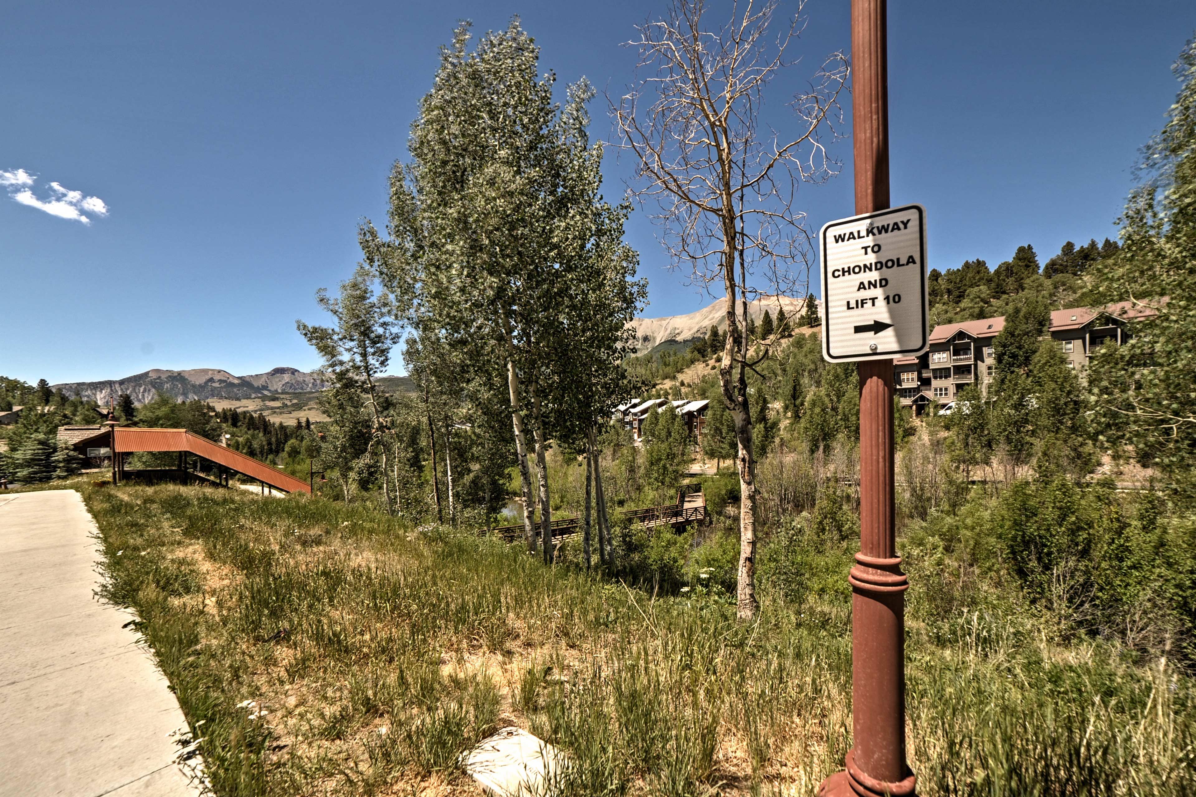 Walk no more than a few blocks to access the ski lifts.