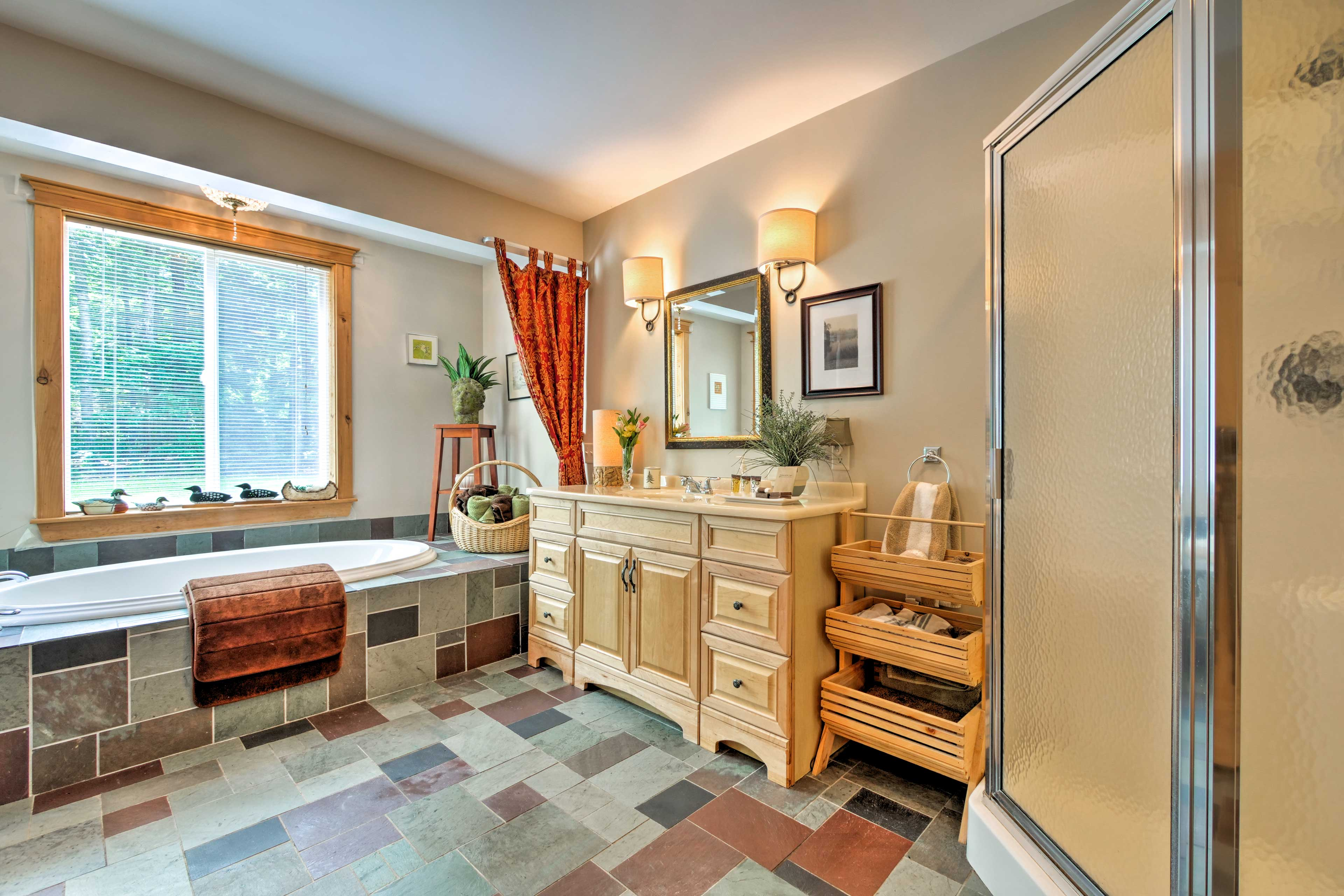 Rinse the lake water off in the glass-enclosed walk-in shower.