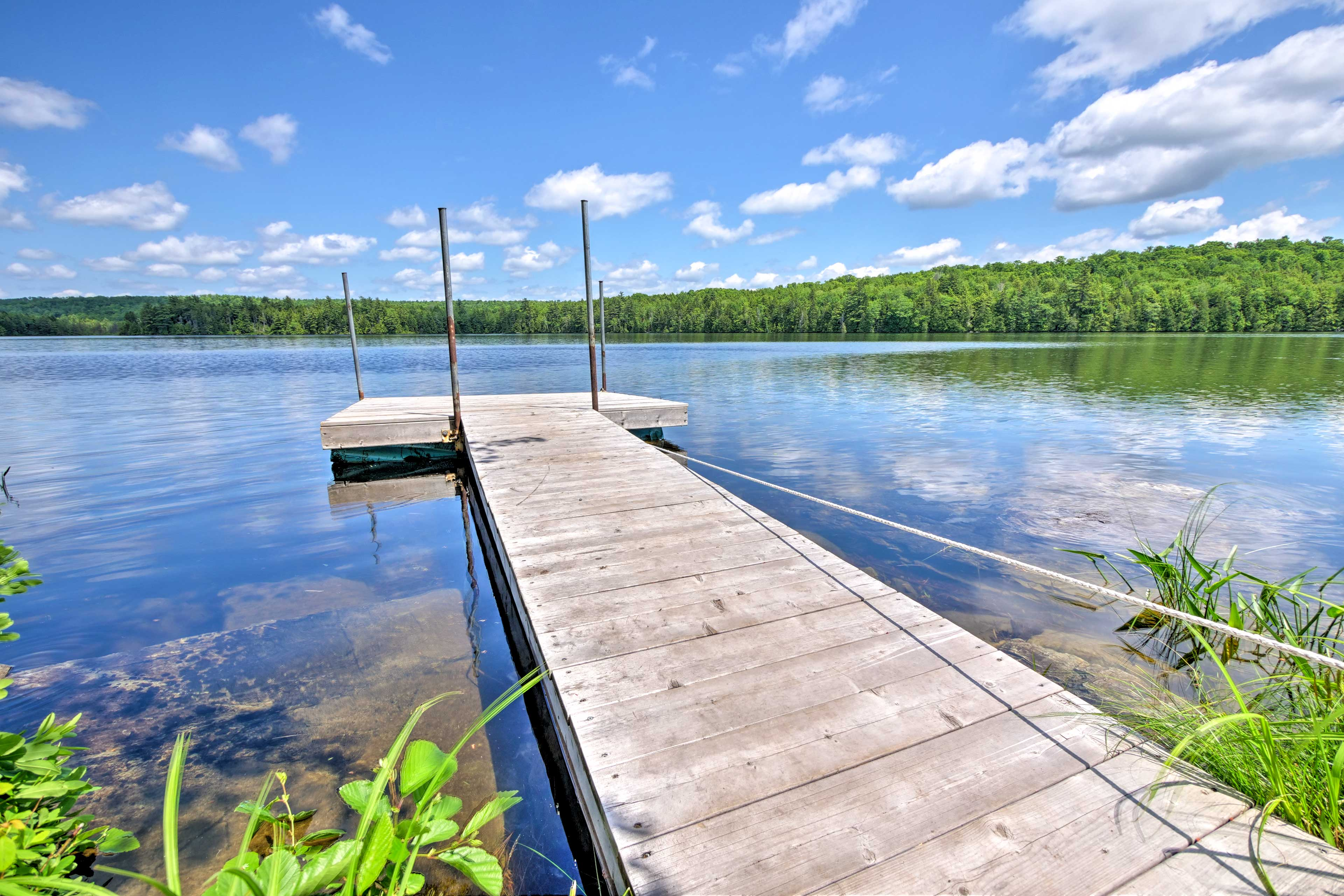 Tie your boat up and swim in the crystal clear waters from the dock.