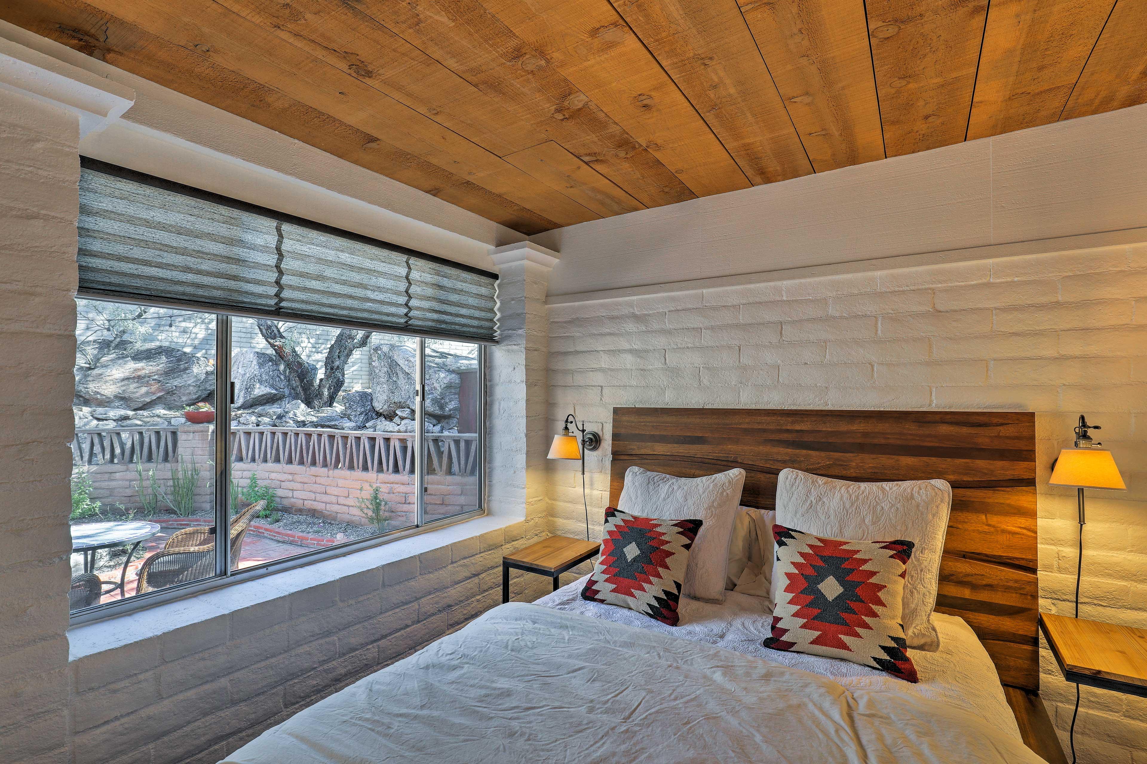 Sunlight fills the bedroom each morning.