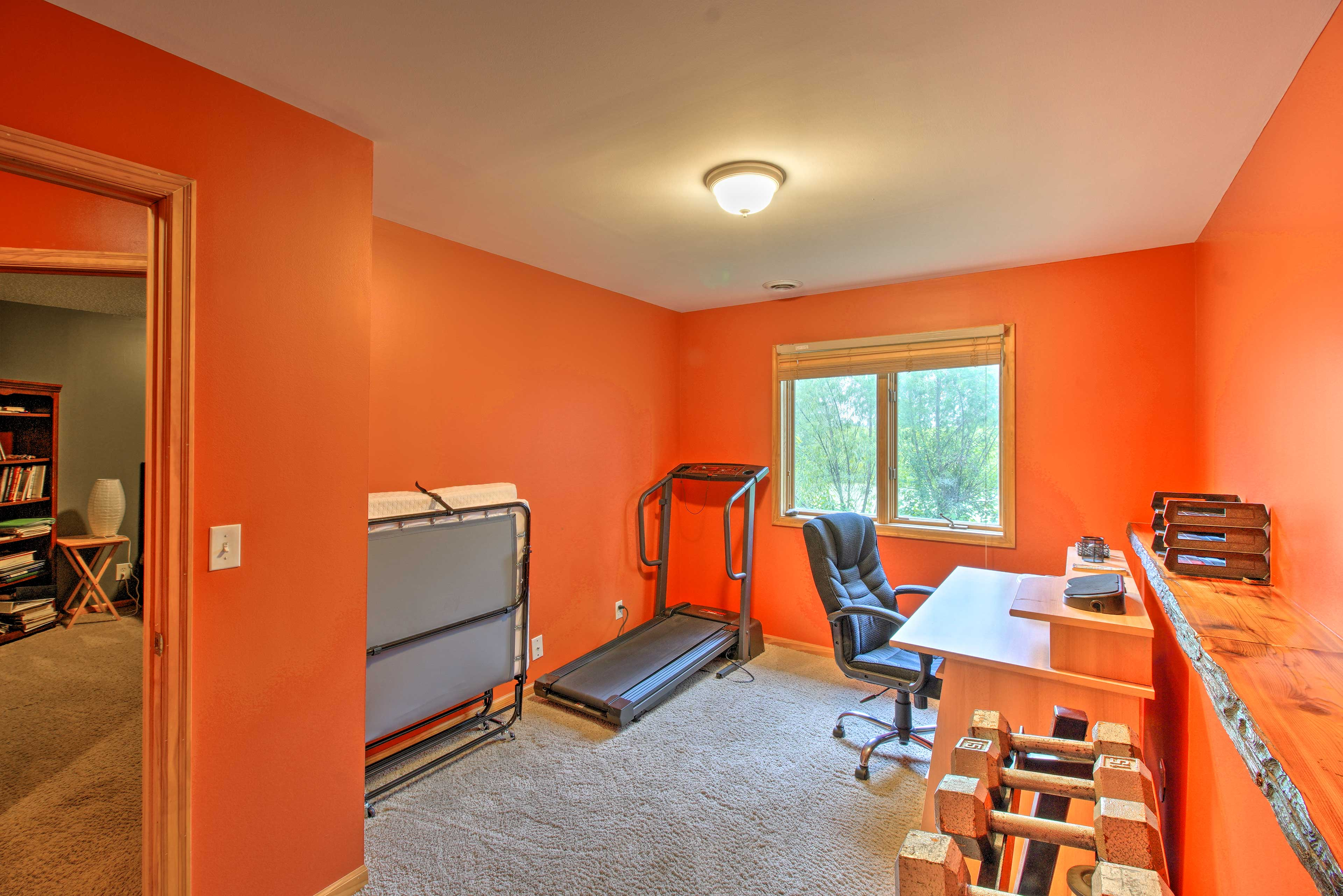 The office space also has hand weights for a quick workout.