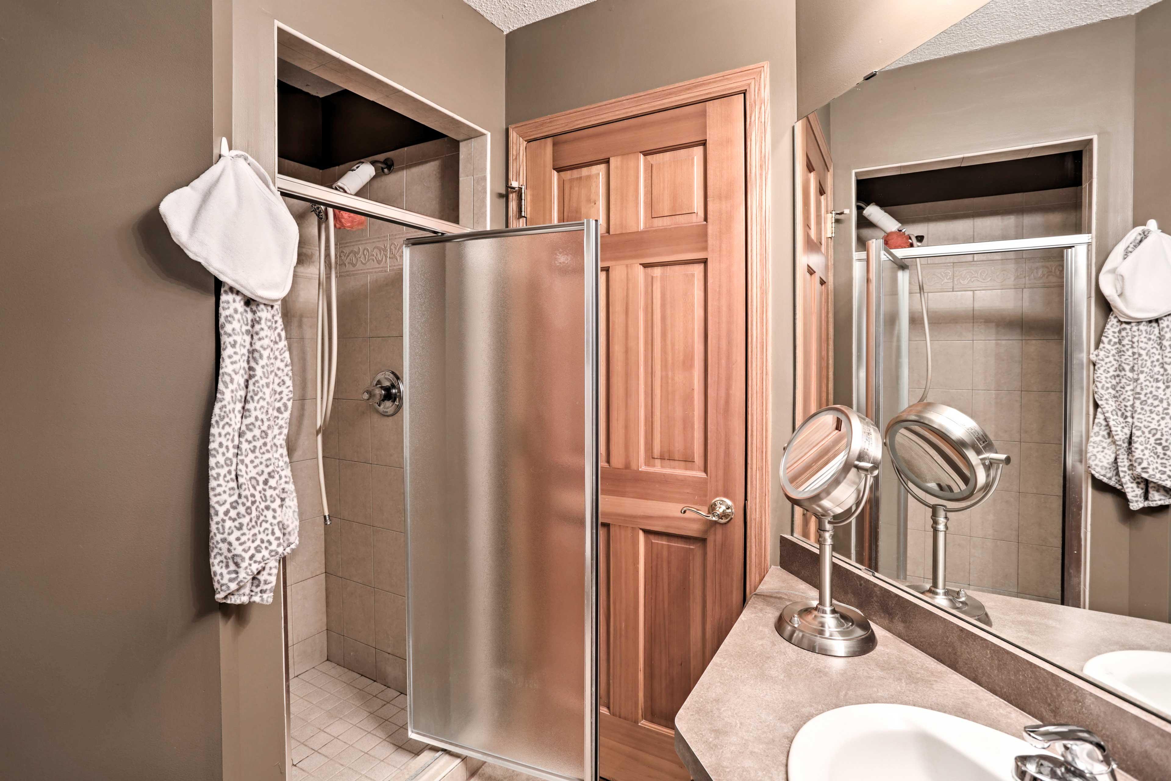 Enjoy a rinse in the walk-in shower.