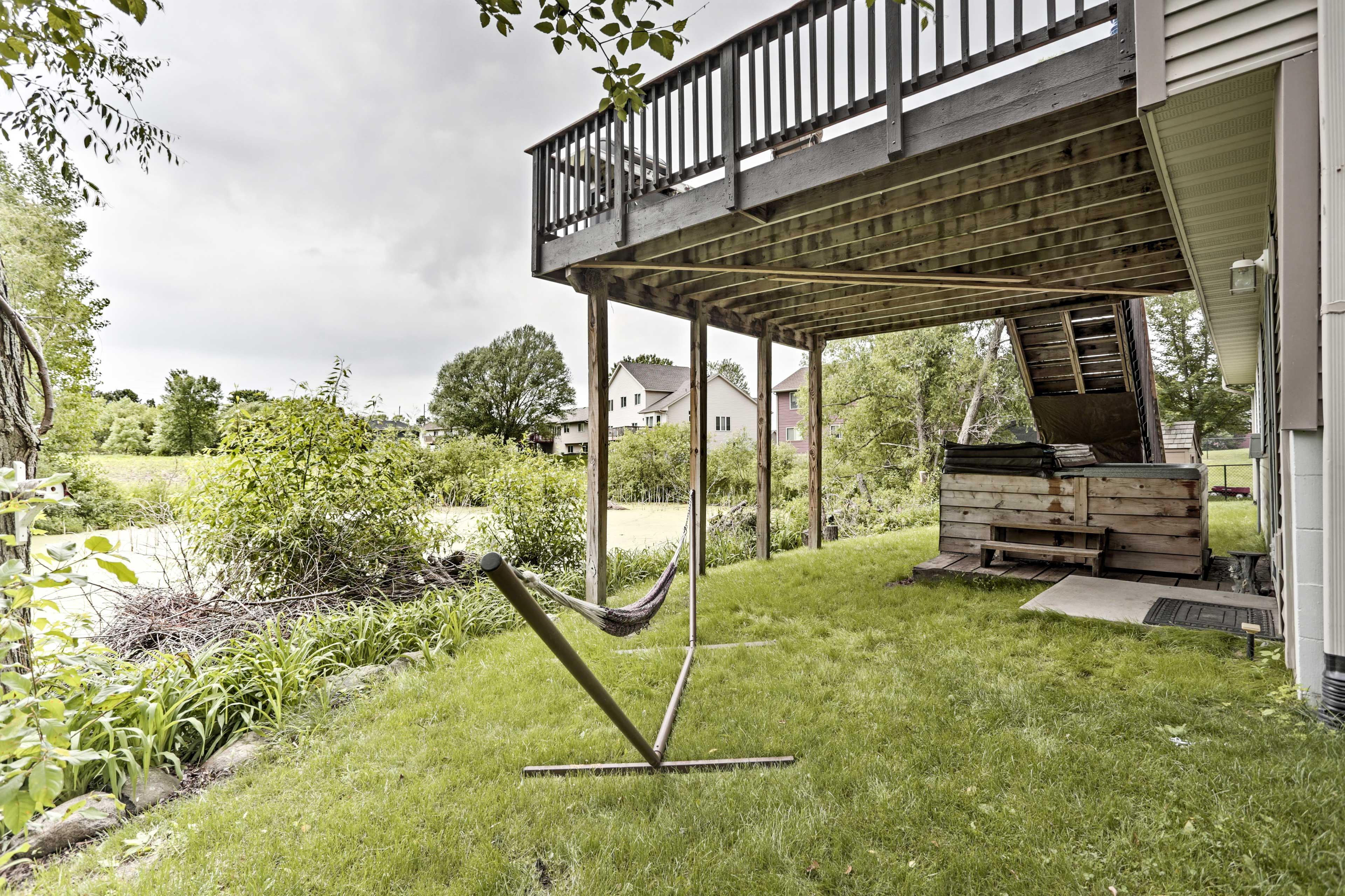 Explore the backyard pond on a walk with Fido!