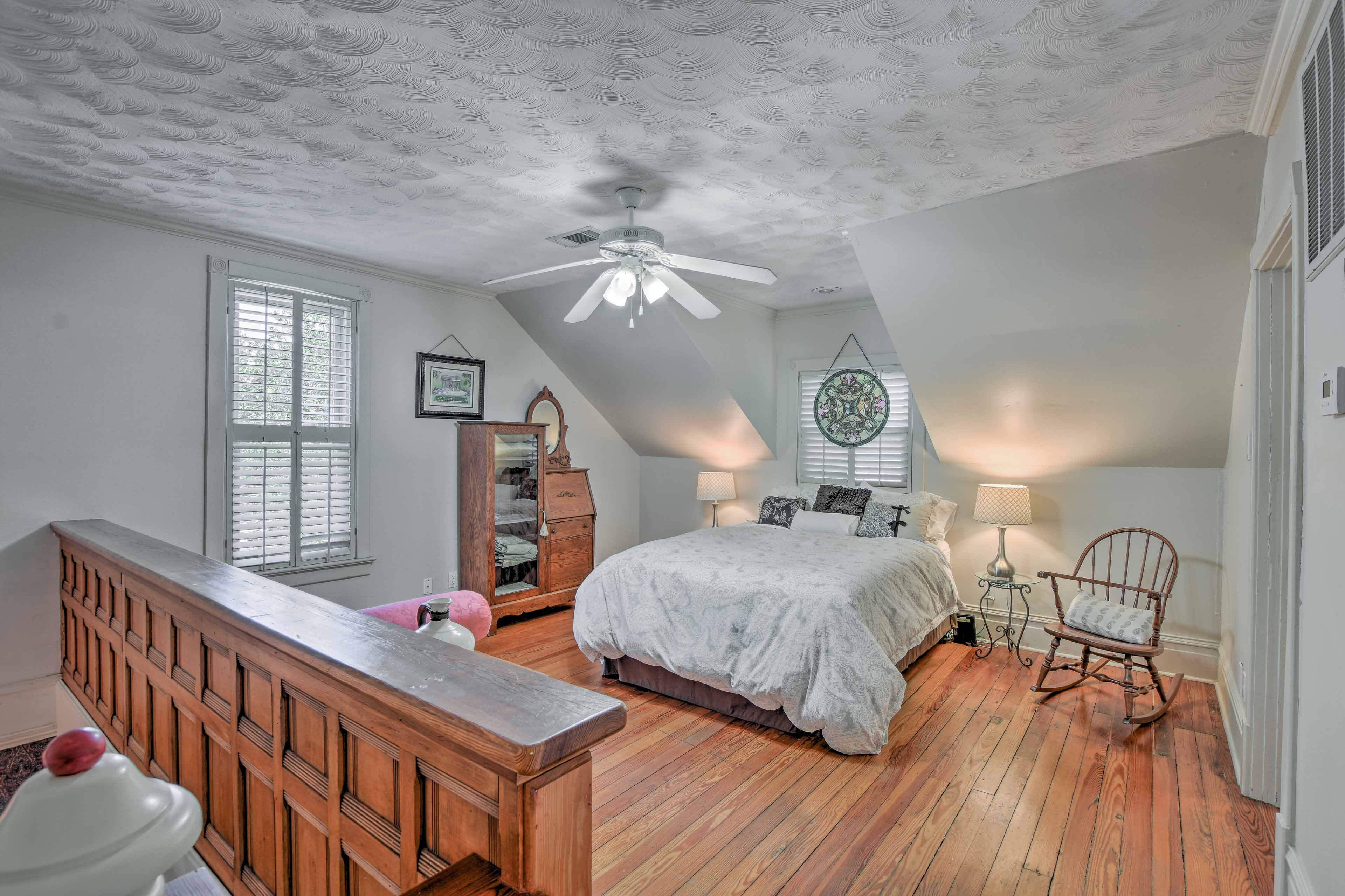 The spacious loft offers a king-sized bed.