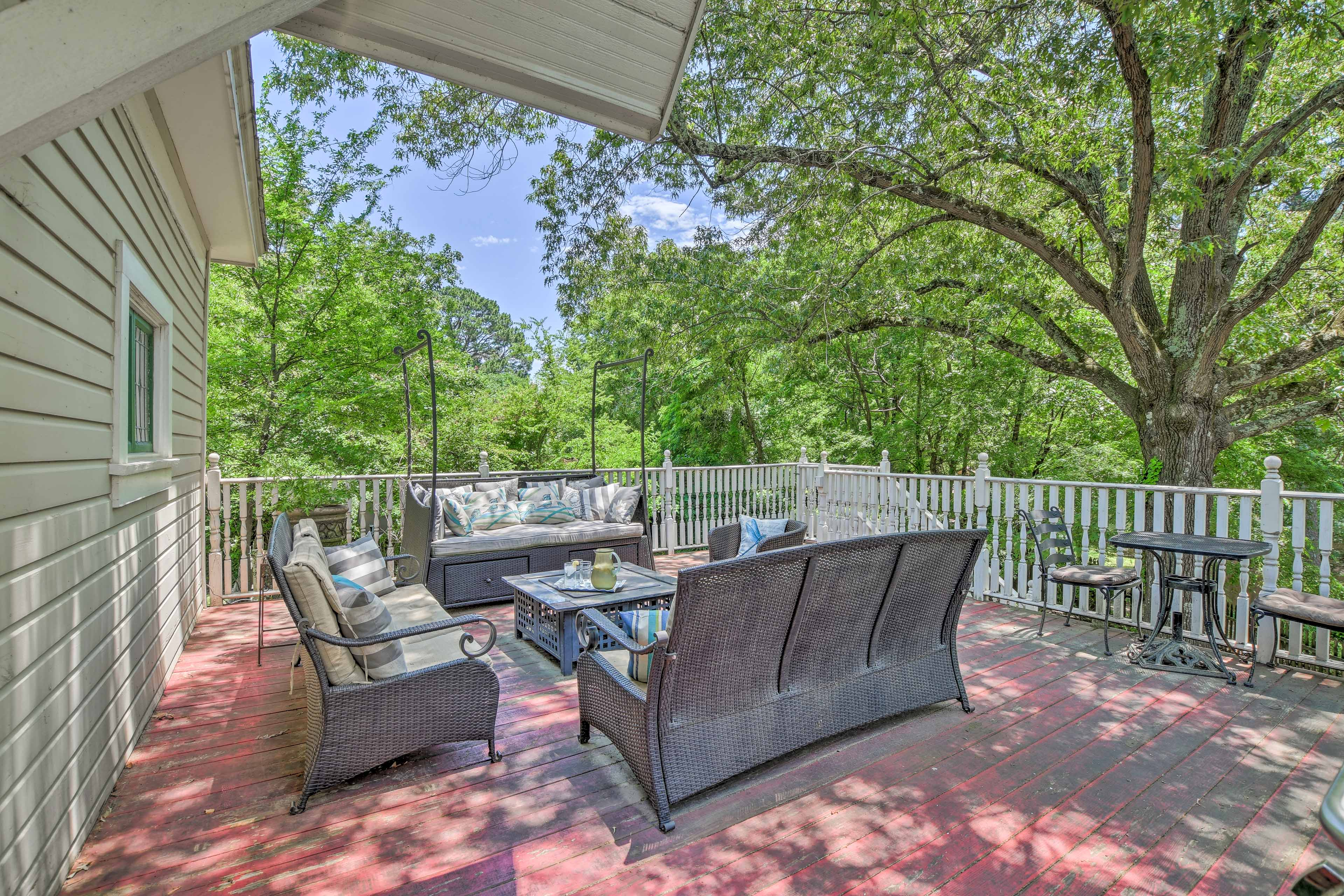 Relax with a fresh lemonade on the 500-square-foot back deck.