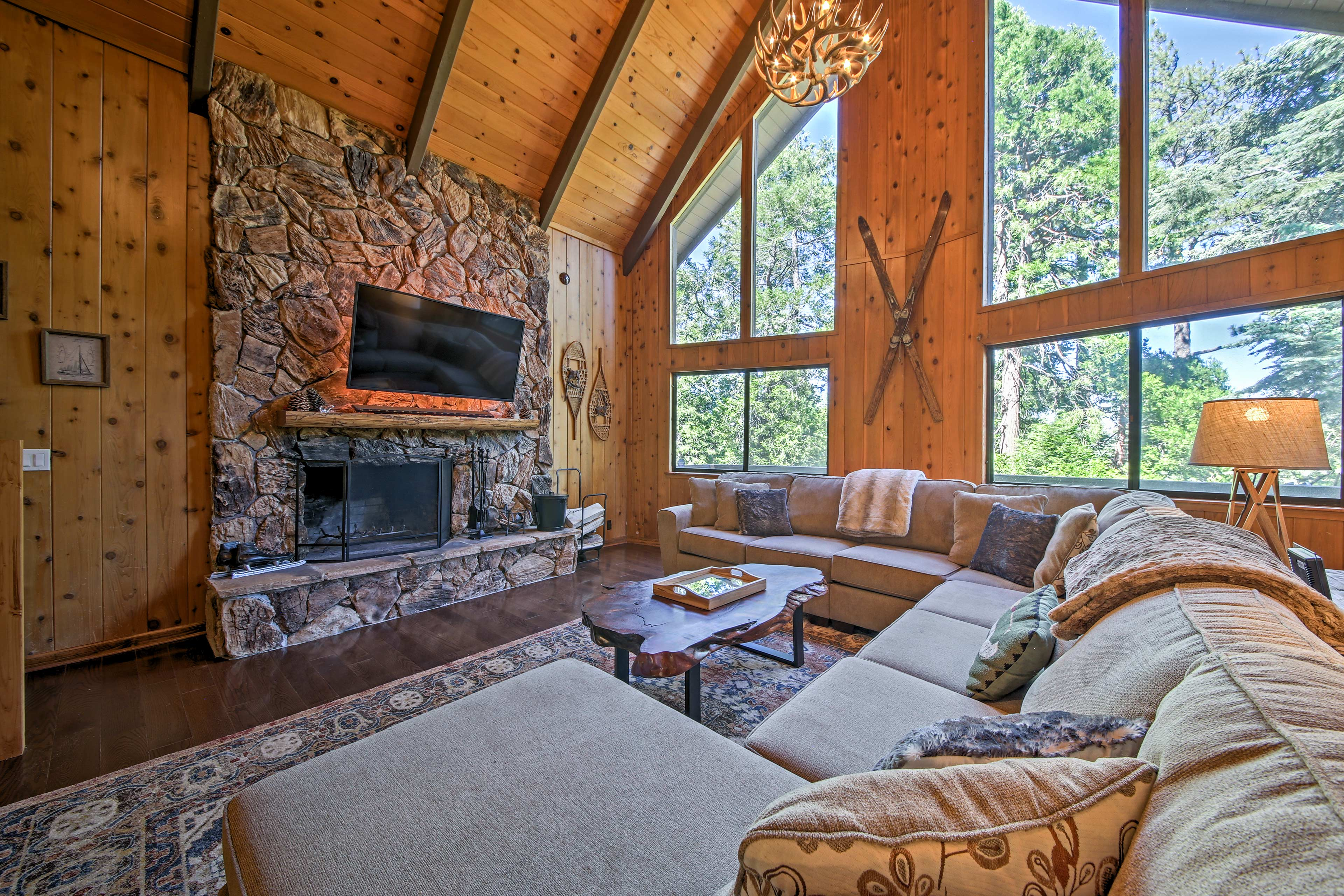 Explore beautiful Lake Arrowhead from this vacation rental house.