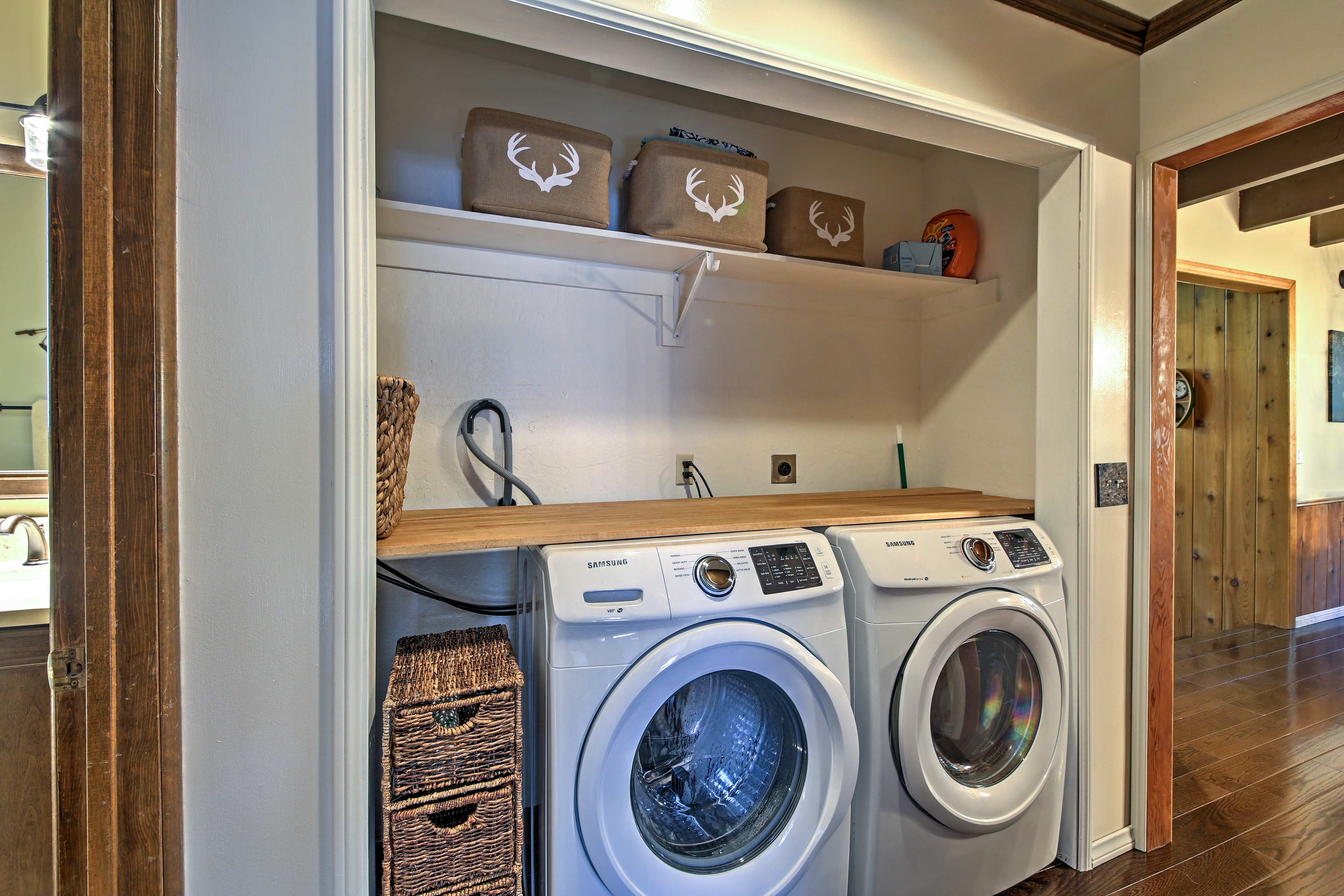 Use the washer and dryer to keep everyone's clothing clean.