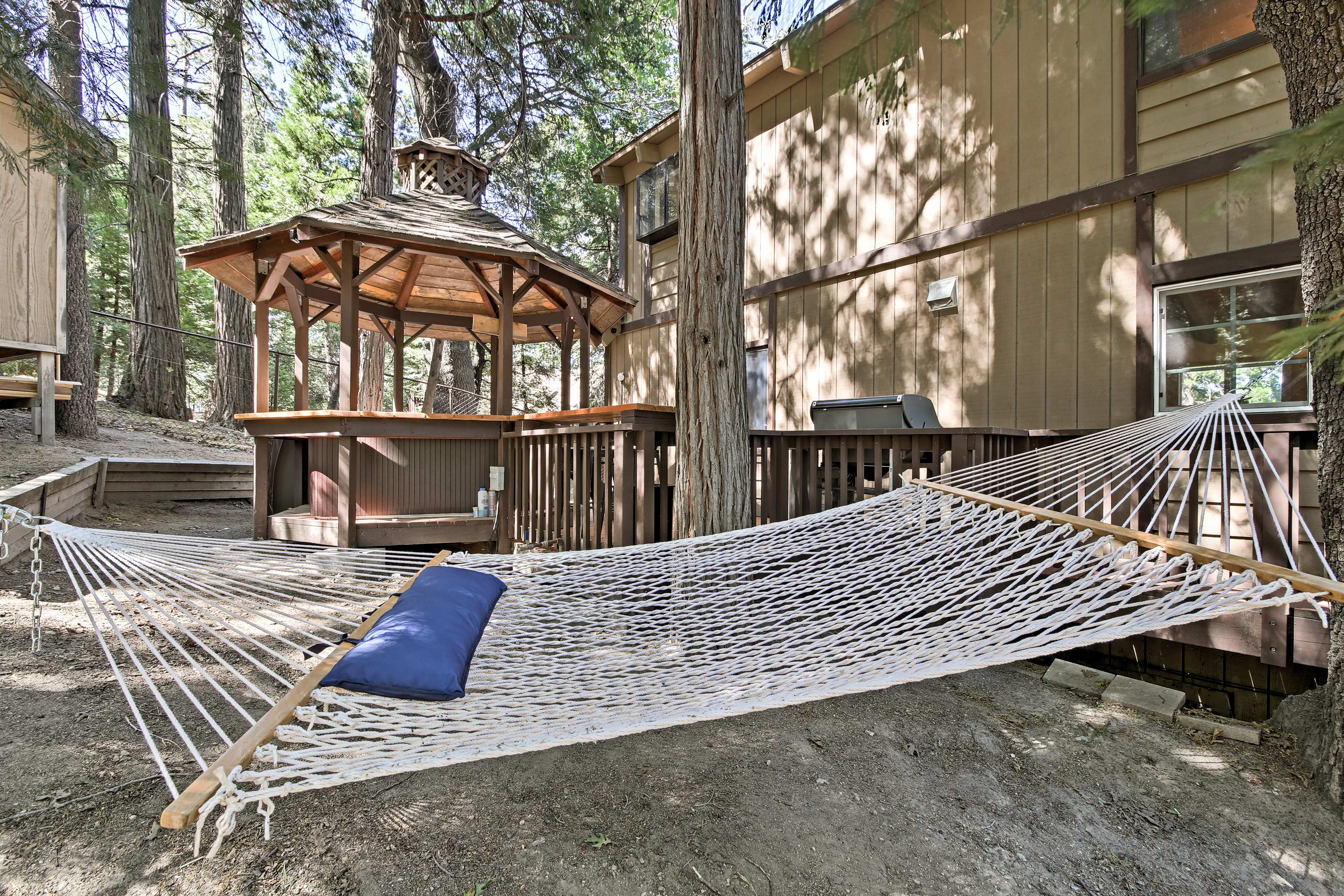 Recline on the hammock in the dappled sunlight.