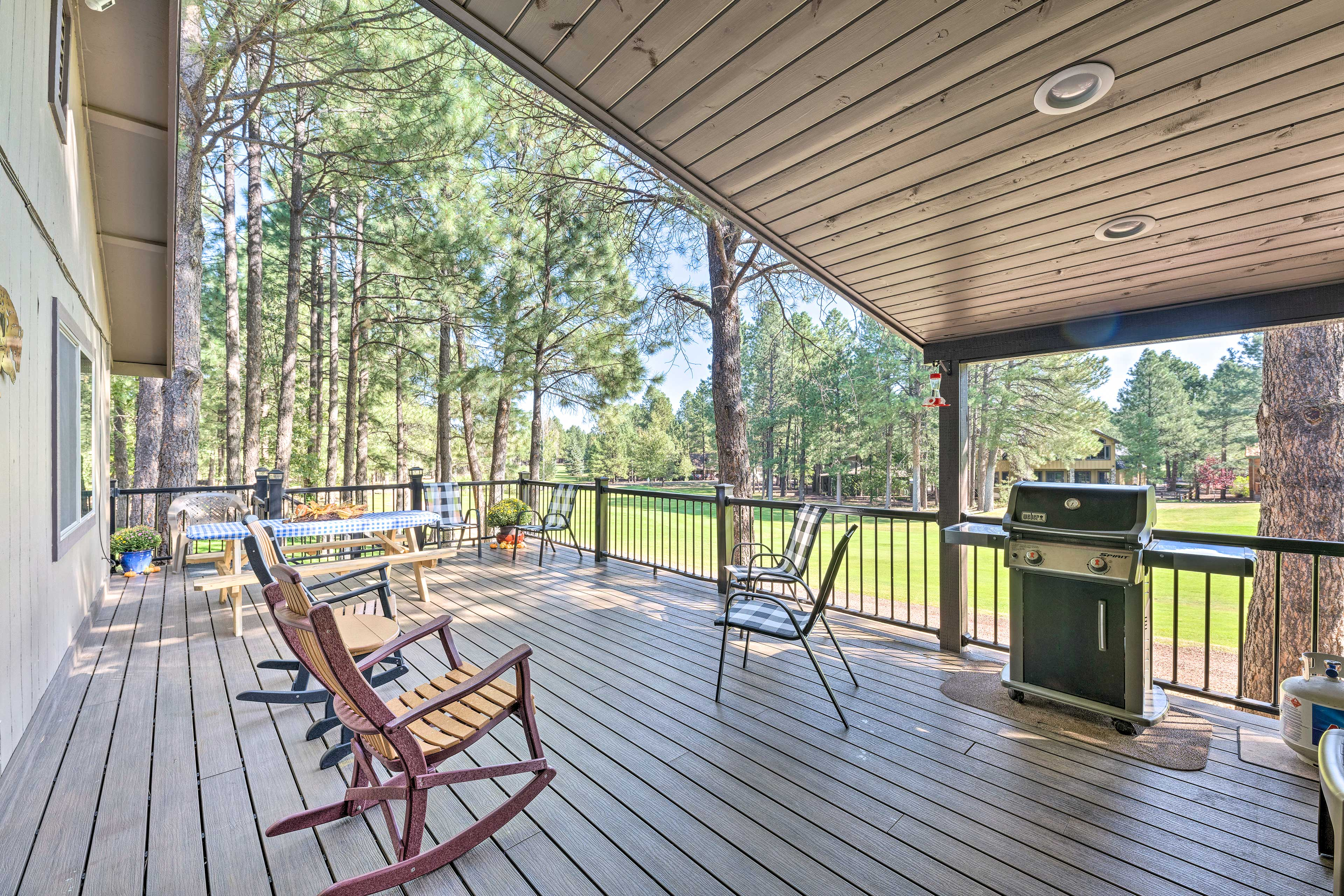 Golf course views can be yours at this 4-bed, 3-bath vacation rental home!