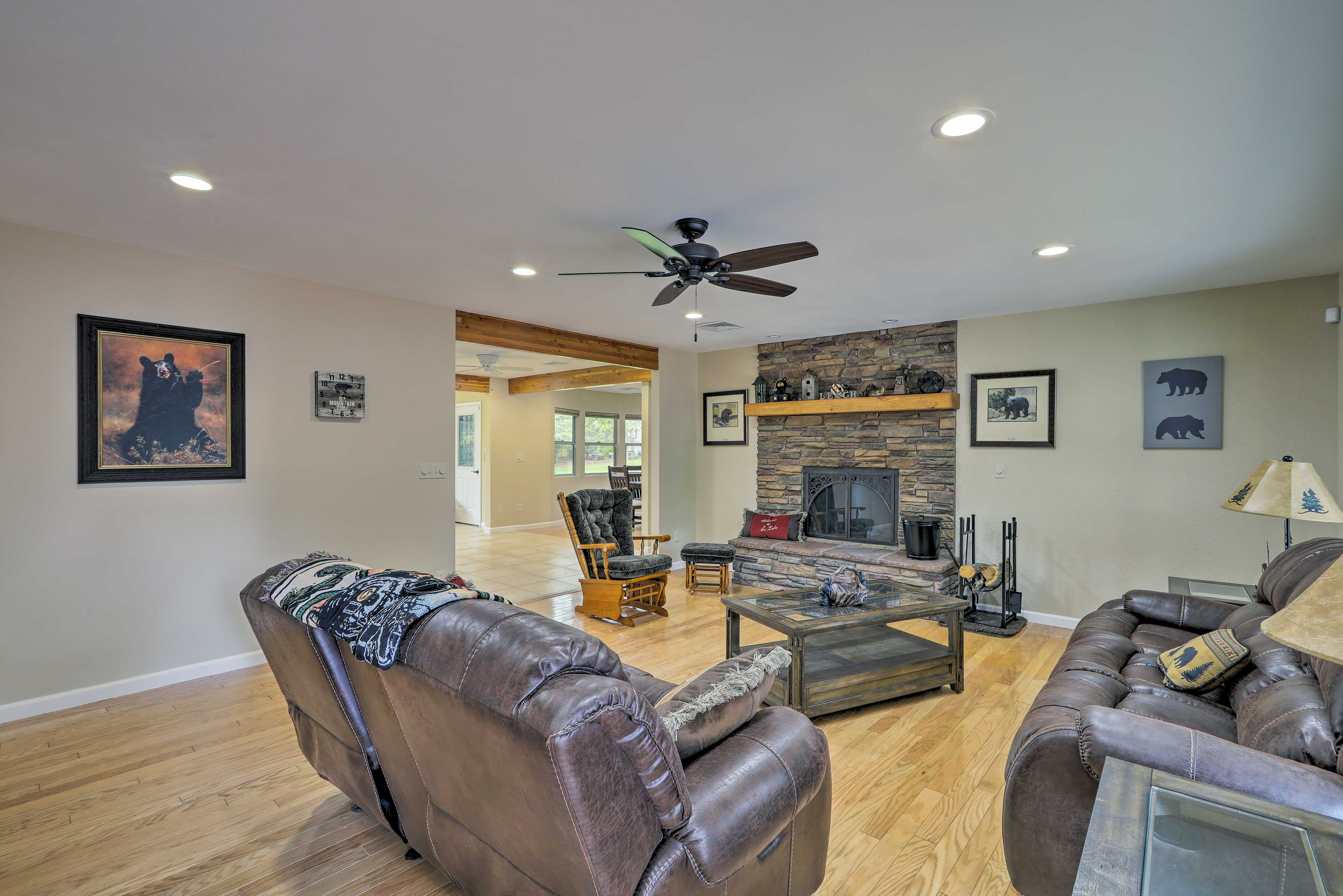 This home features 3 spacious living areas.