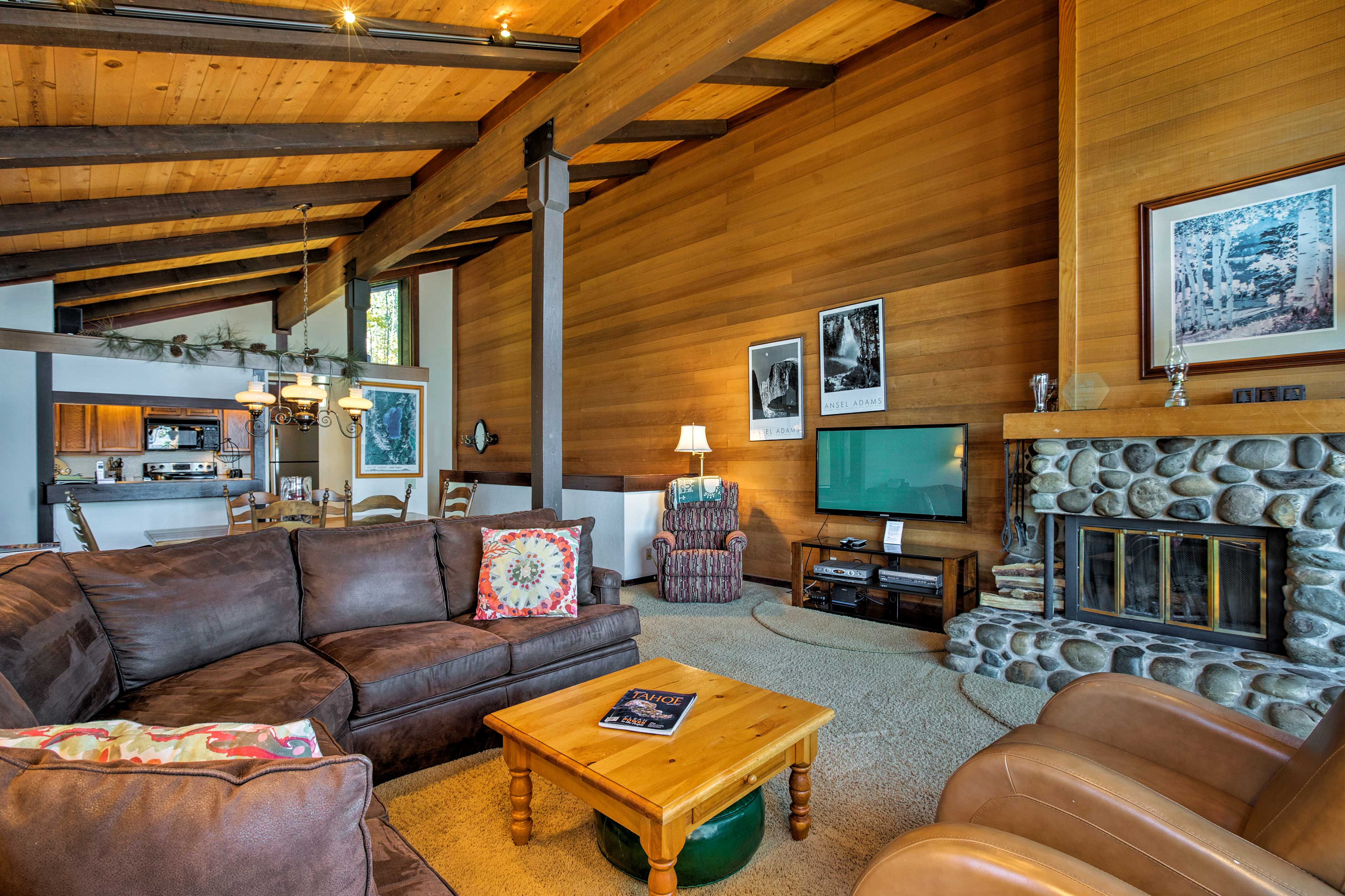 Curl up on the couch as the wood-burning fireplace keeps you nice and toasty.