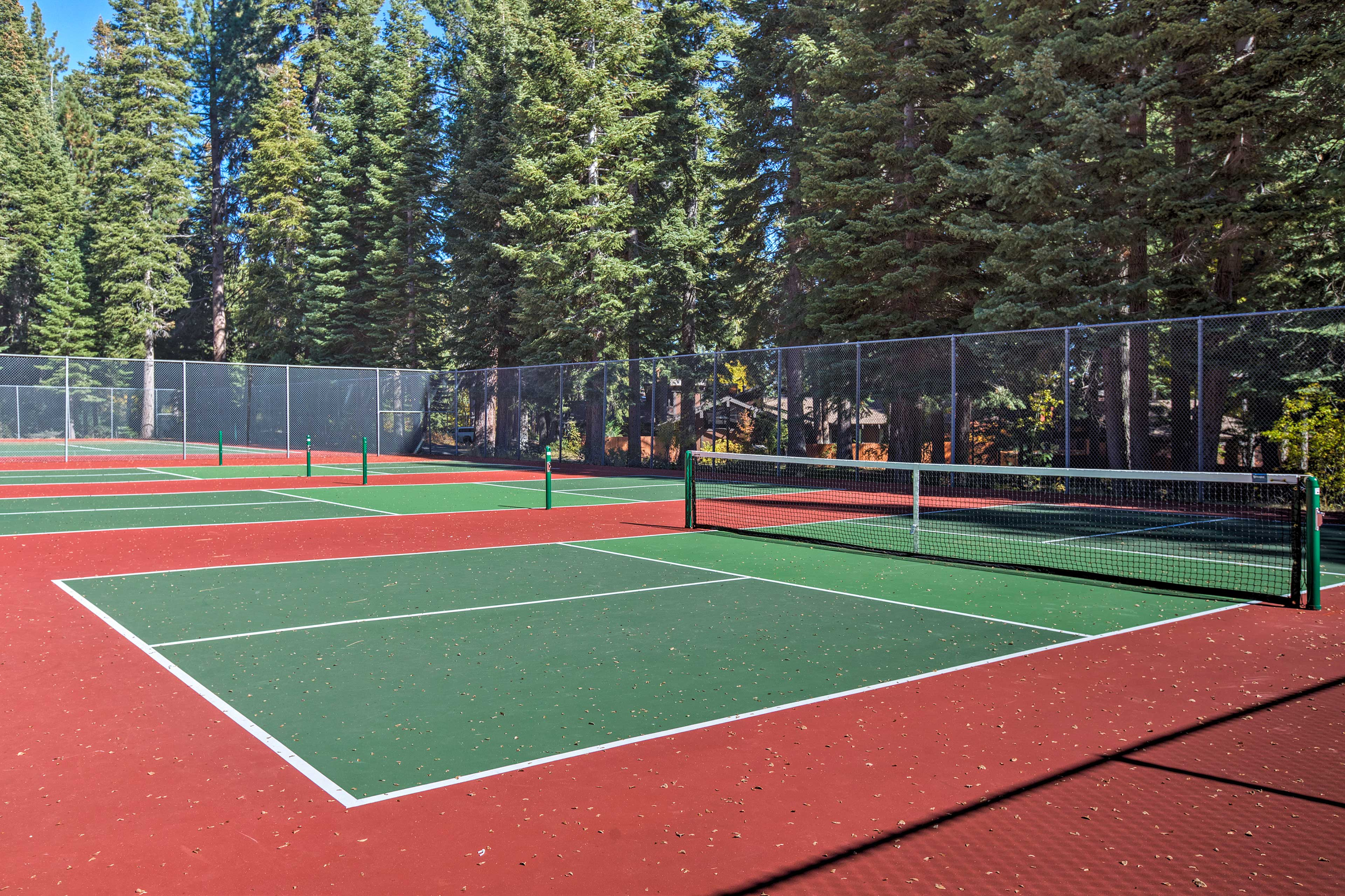 Challenge a partner to a friendly game of tennis.
