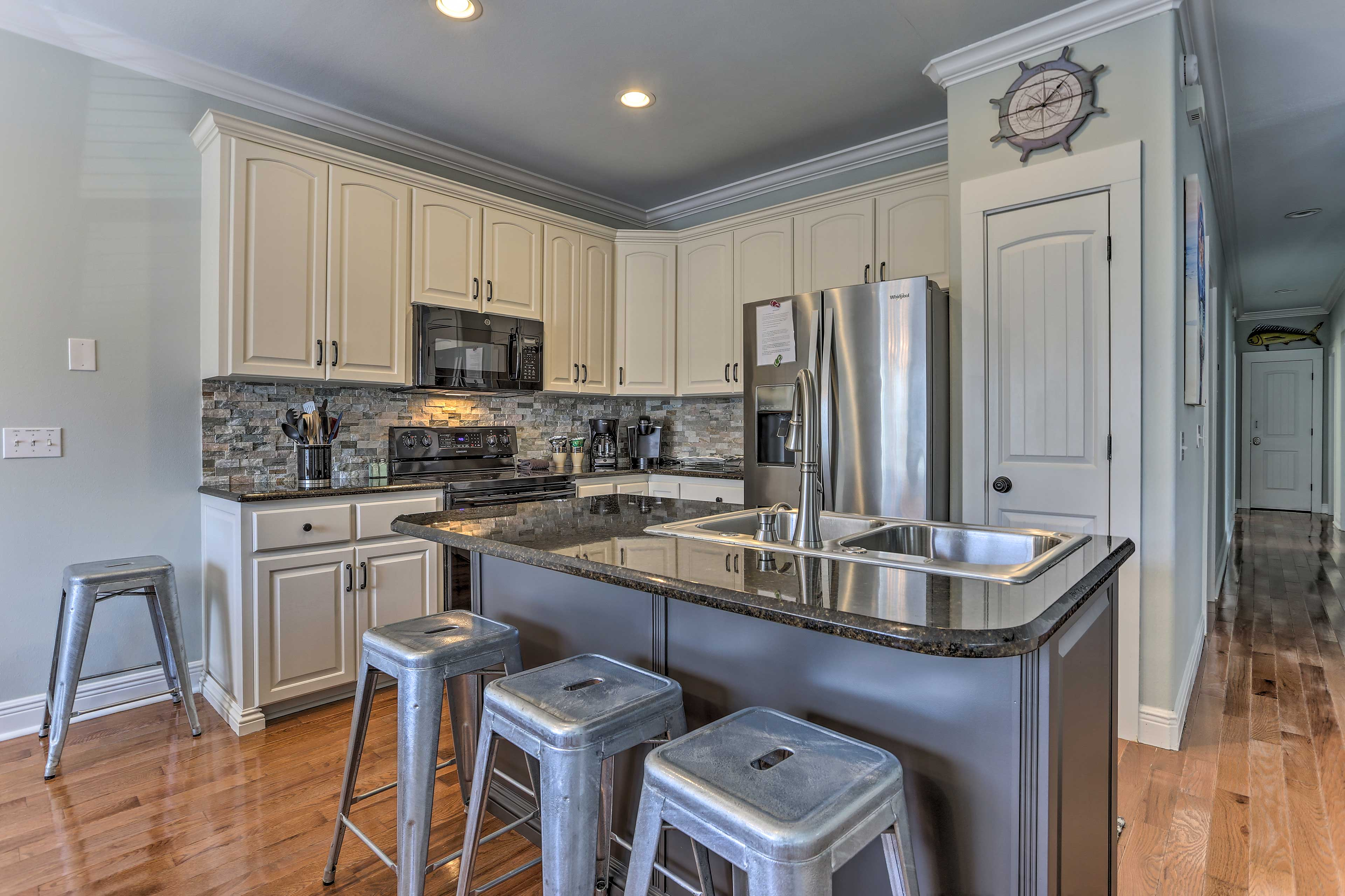 The kitchen is fully equipped and and ready for family meals.