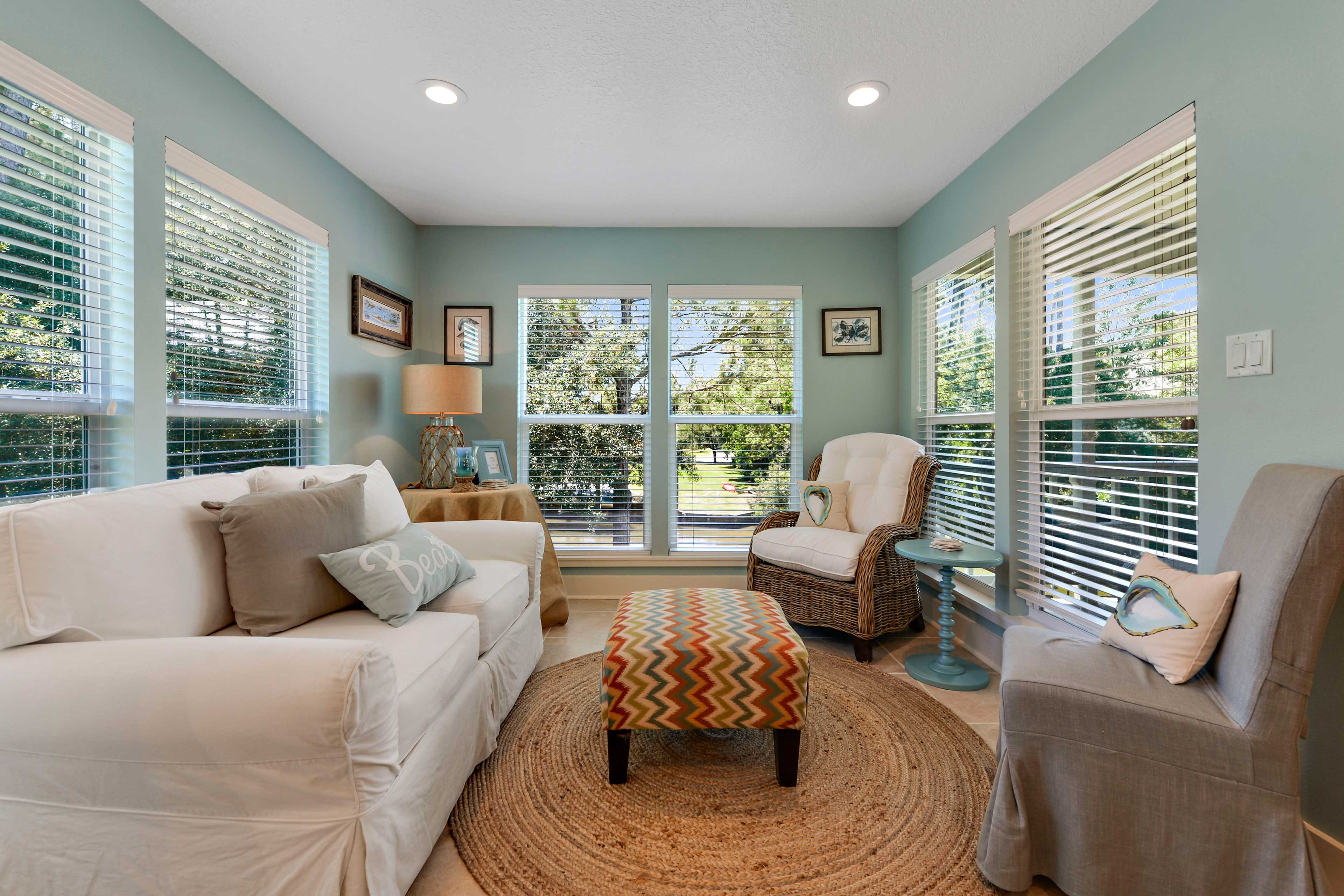 There are multiple places to sit and relax throughout the home.