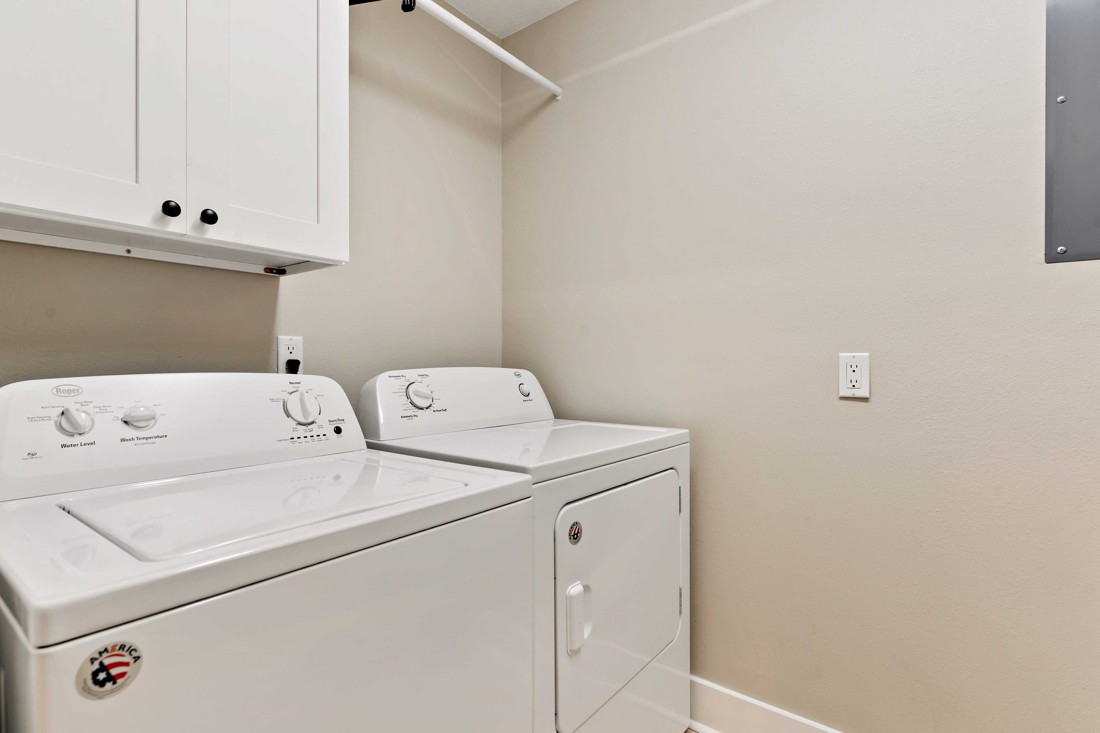 Laundry machines will keep your clothes smelling fresh during your stay.