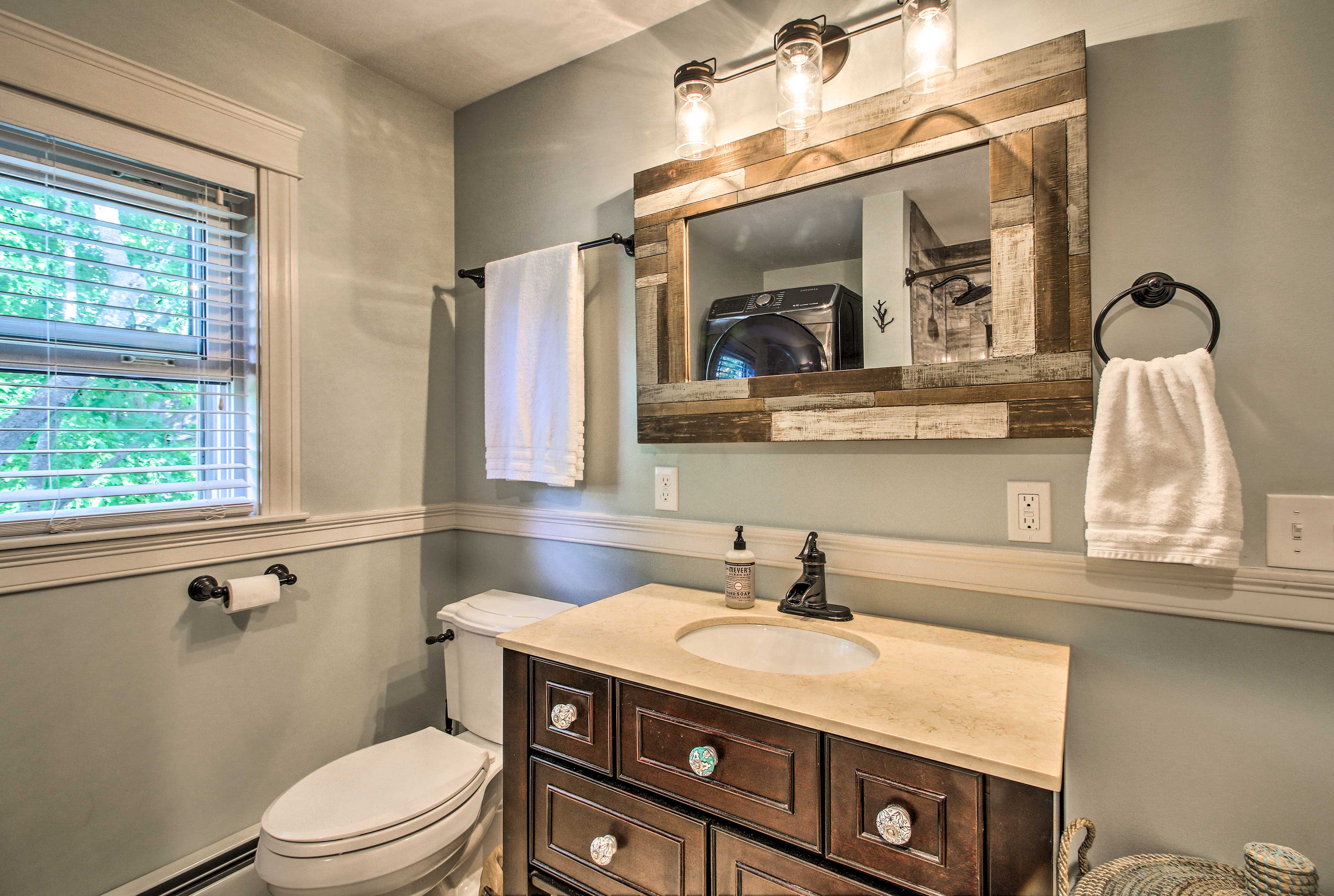 Rinse off the salty water in the first-floor full bathroom.