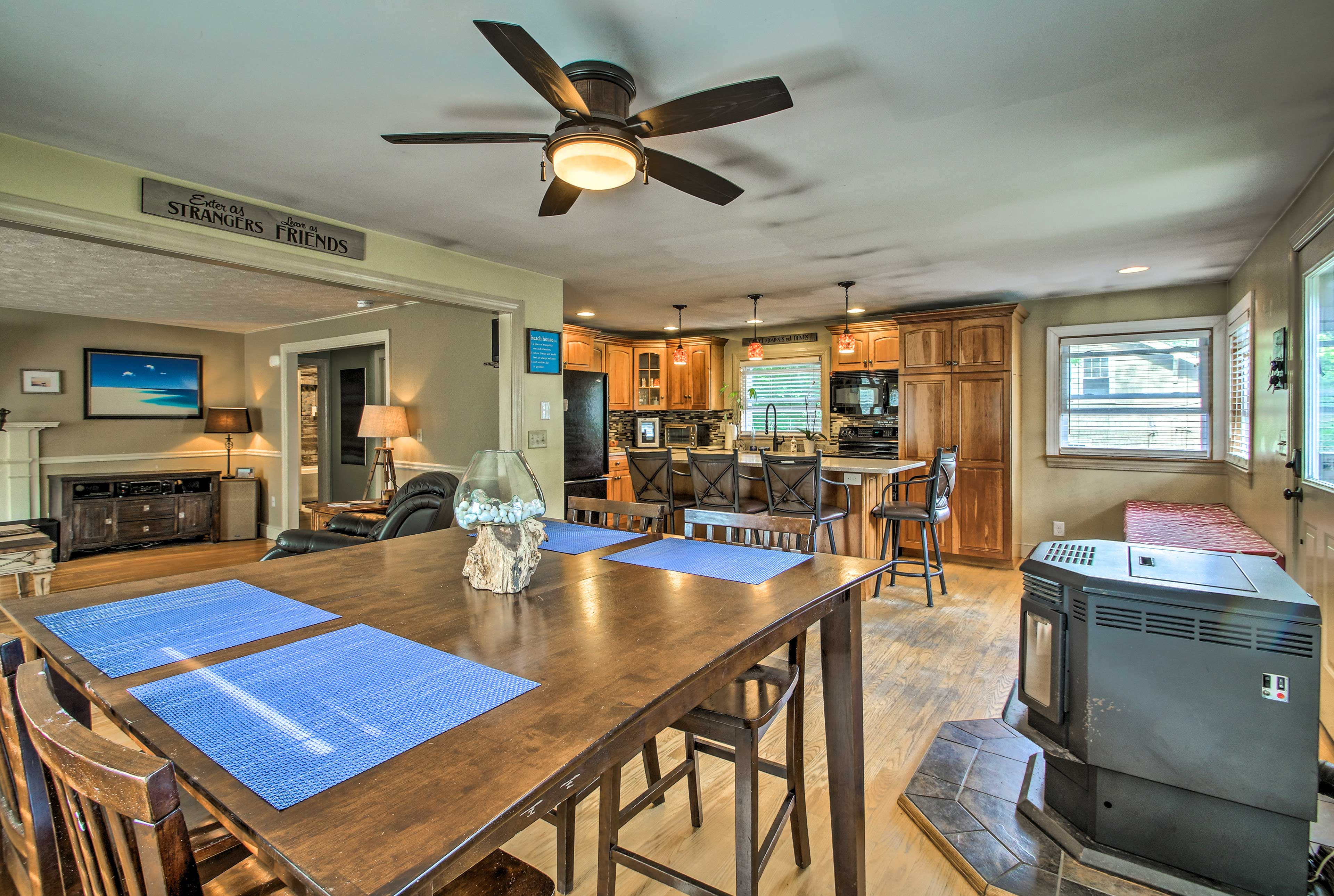 Spread out across the kitchen and dining table to enjoy your meal.