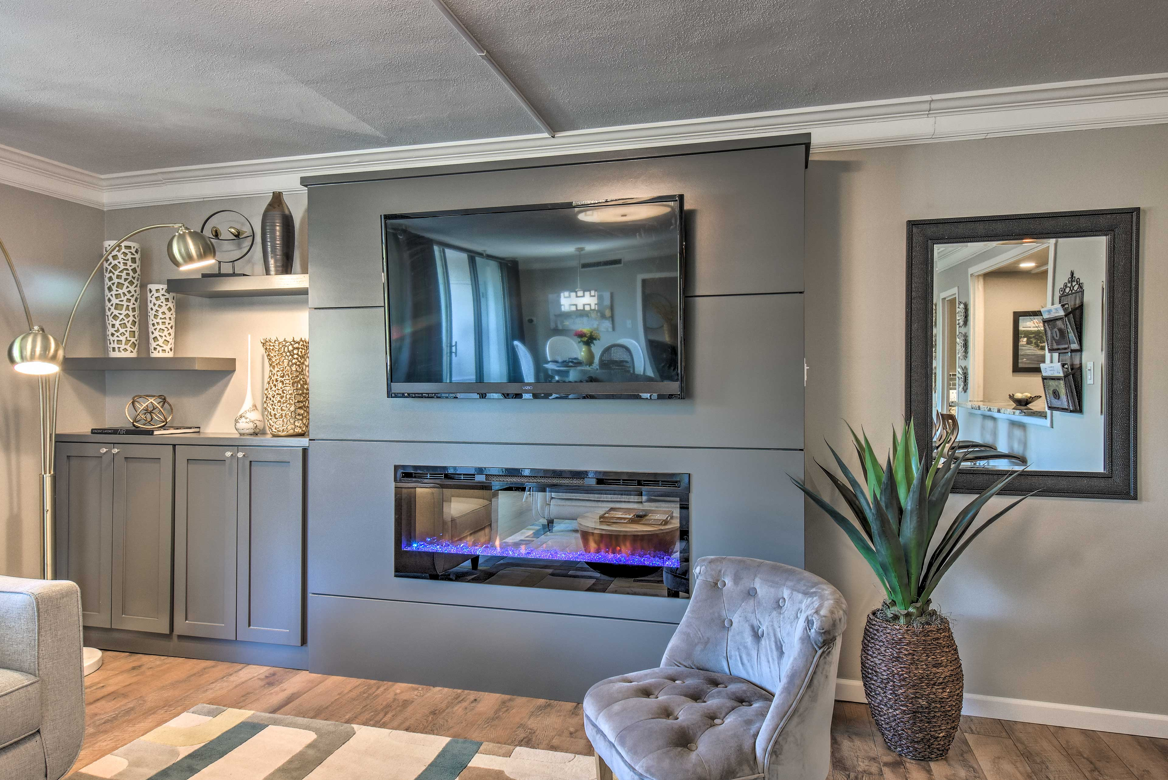 Warm up next to the colorful gas fireplace.