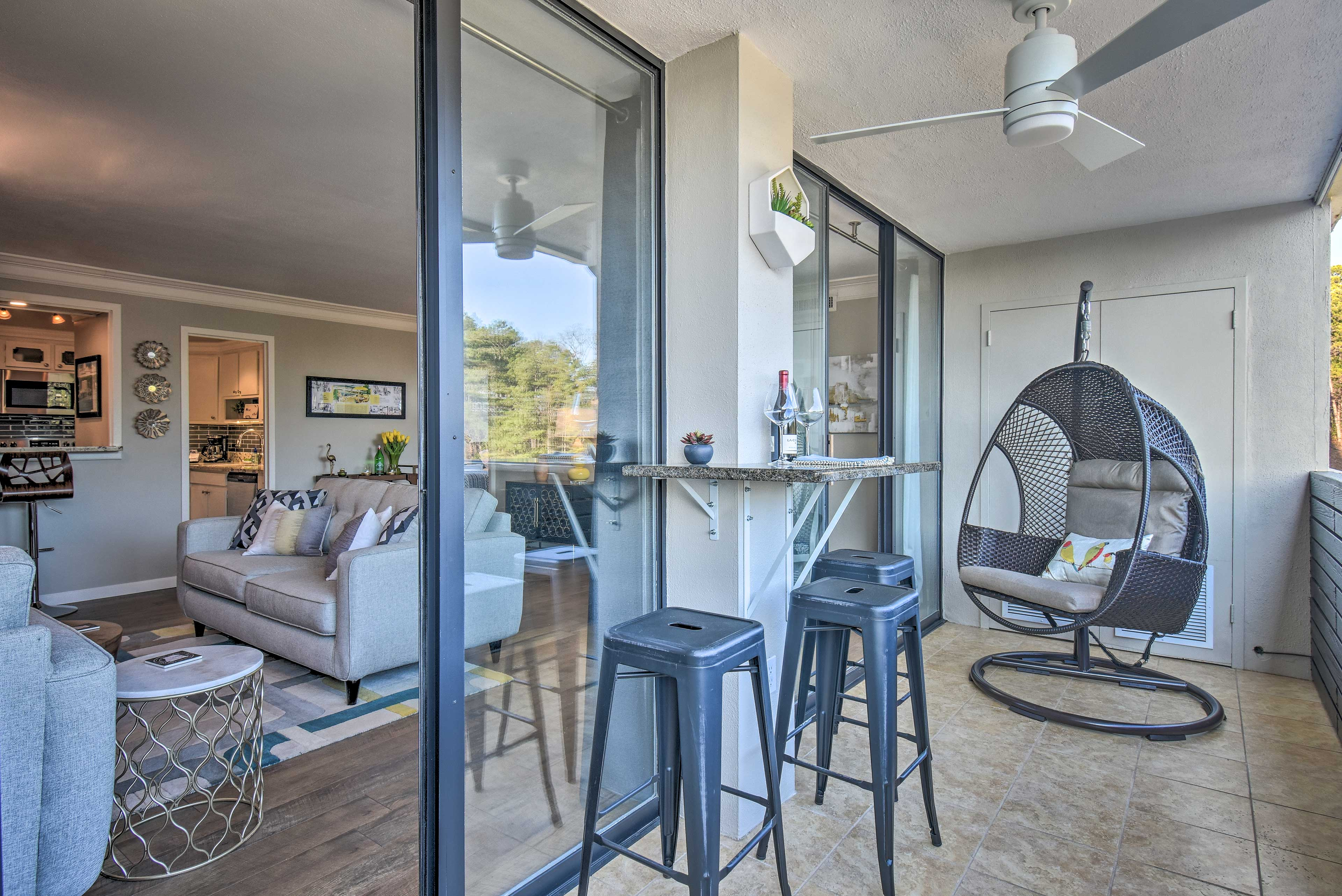 You'll have a private balcony with outdoor seating and water views.