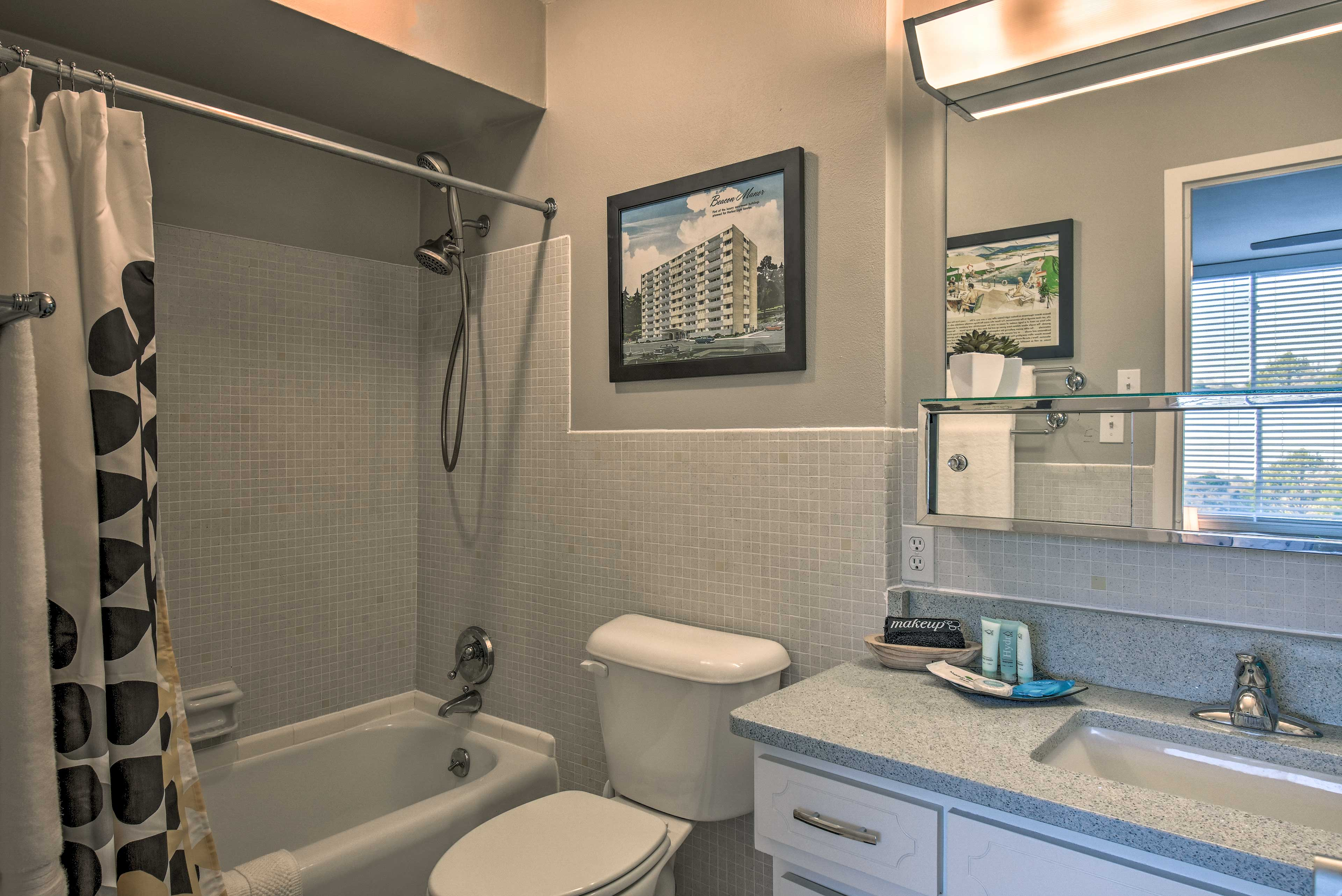 The en-suite bathroom provides privacy and convenience.