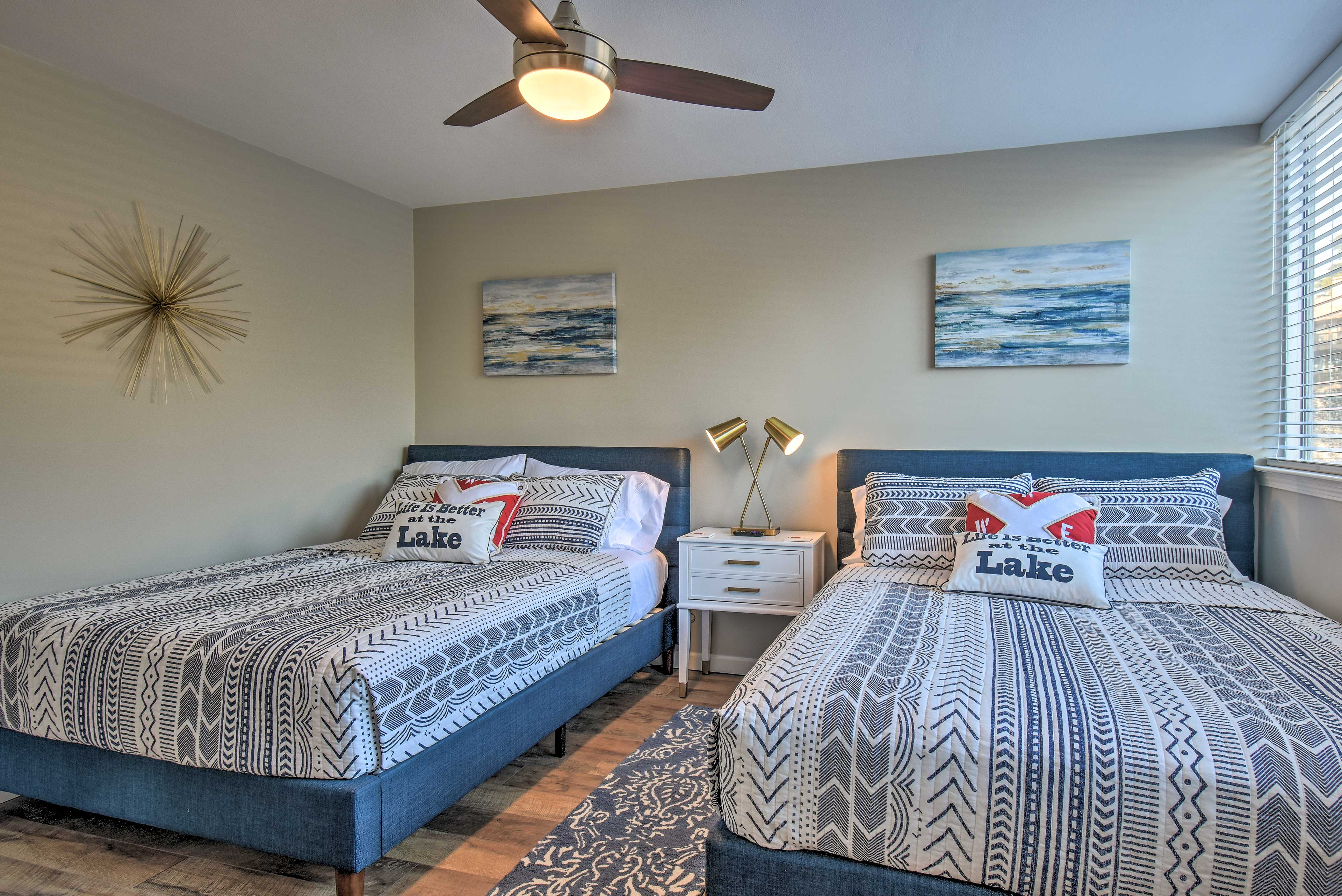 The second bedroom has 2 queen beds.