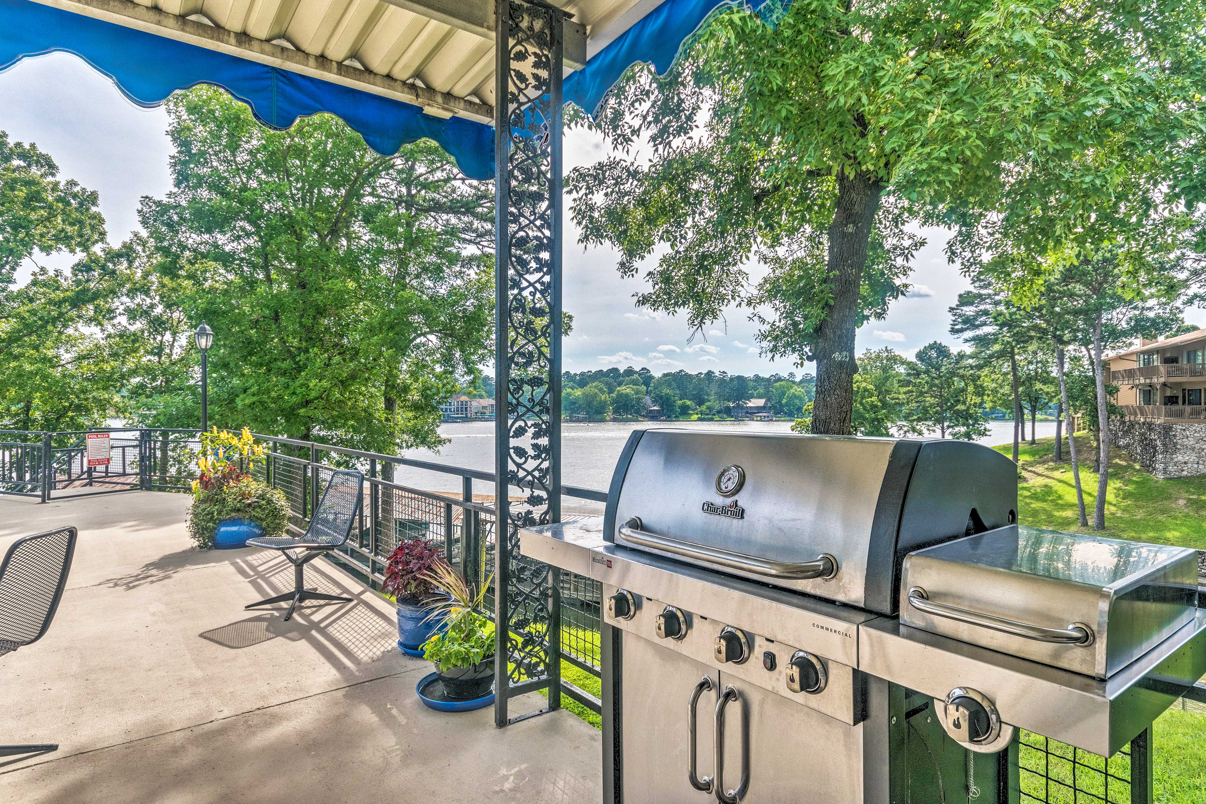 Enjoy lake views while tucked under an awning, protected from the sun.