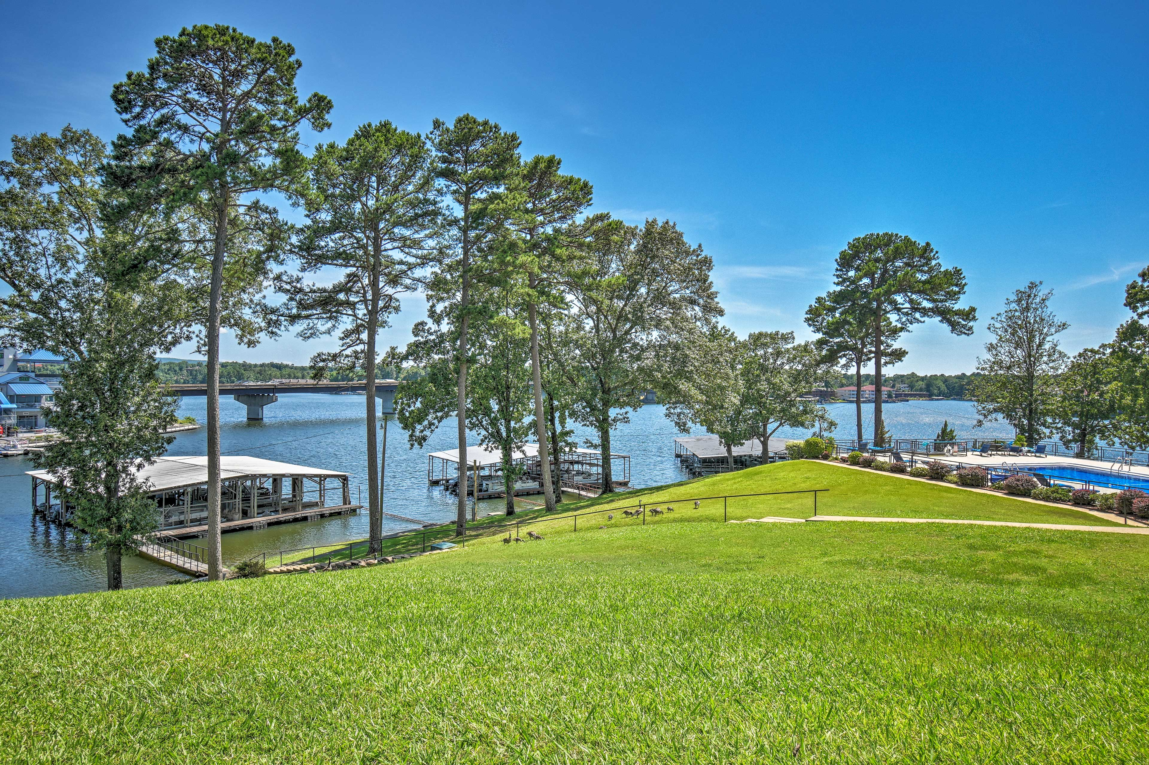 The property is situated on Lake Hamilton with boat slips available.