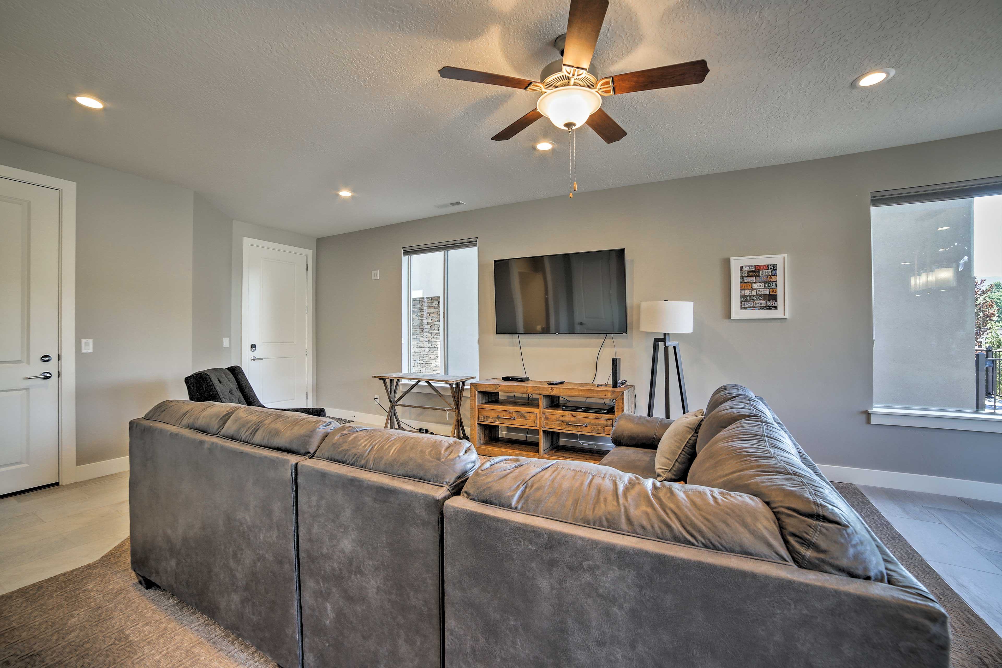 Stretch out with your group on the large sectional.